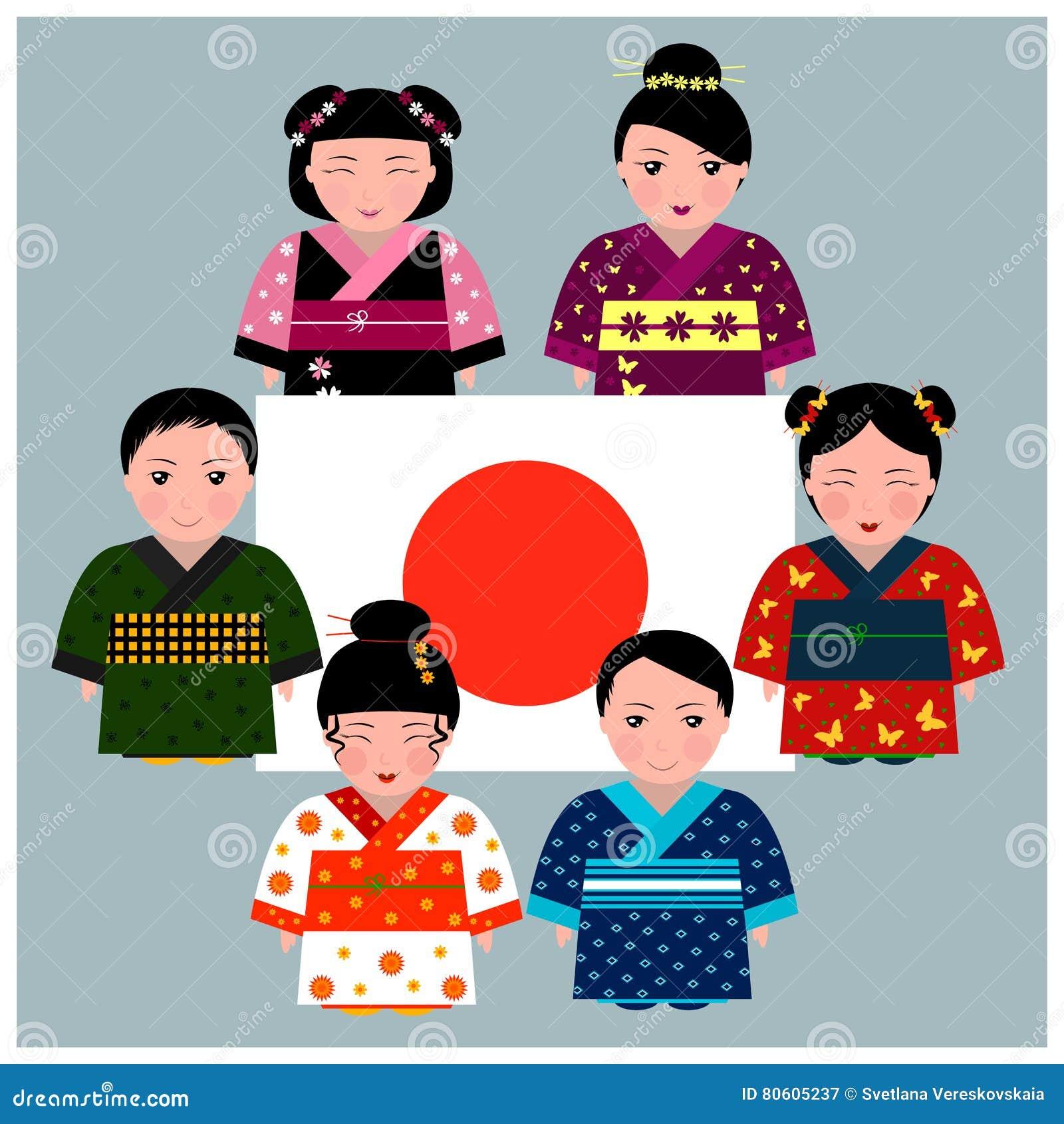 Japanese Children In Kimono Standing Around Japanese Flag