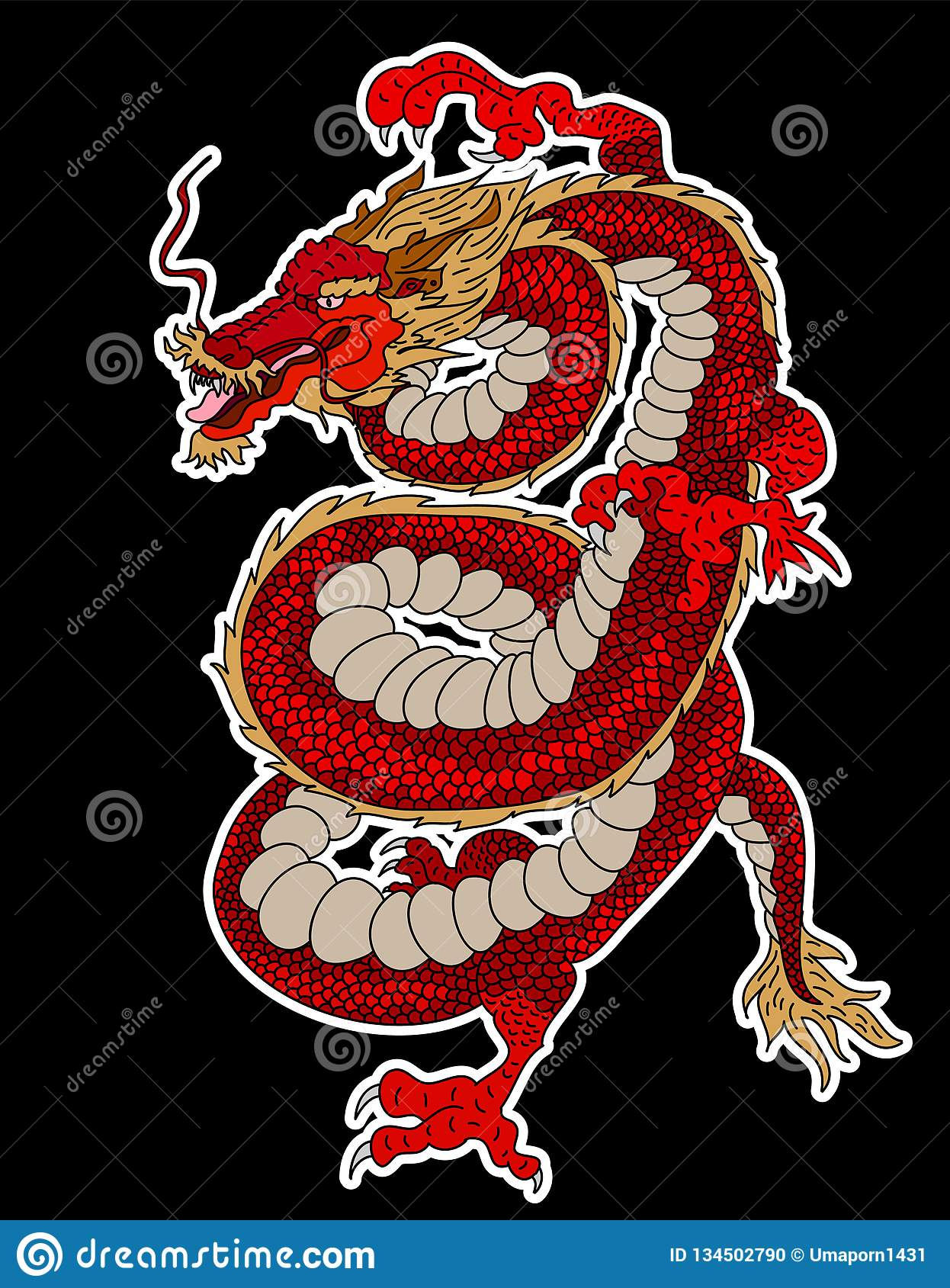 Japanese Dragon For Printing On Paper And For Tattoo Design  Stock