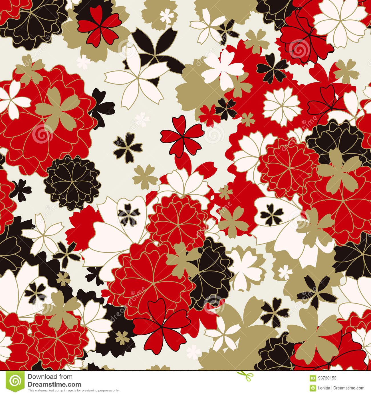 Japanese Classic Floral Seamless Pattern Stock Vector