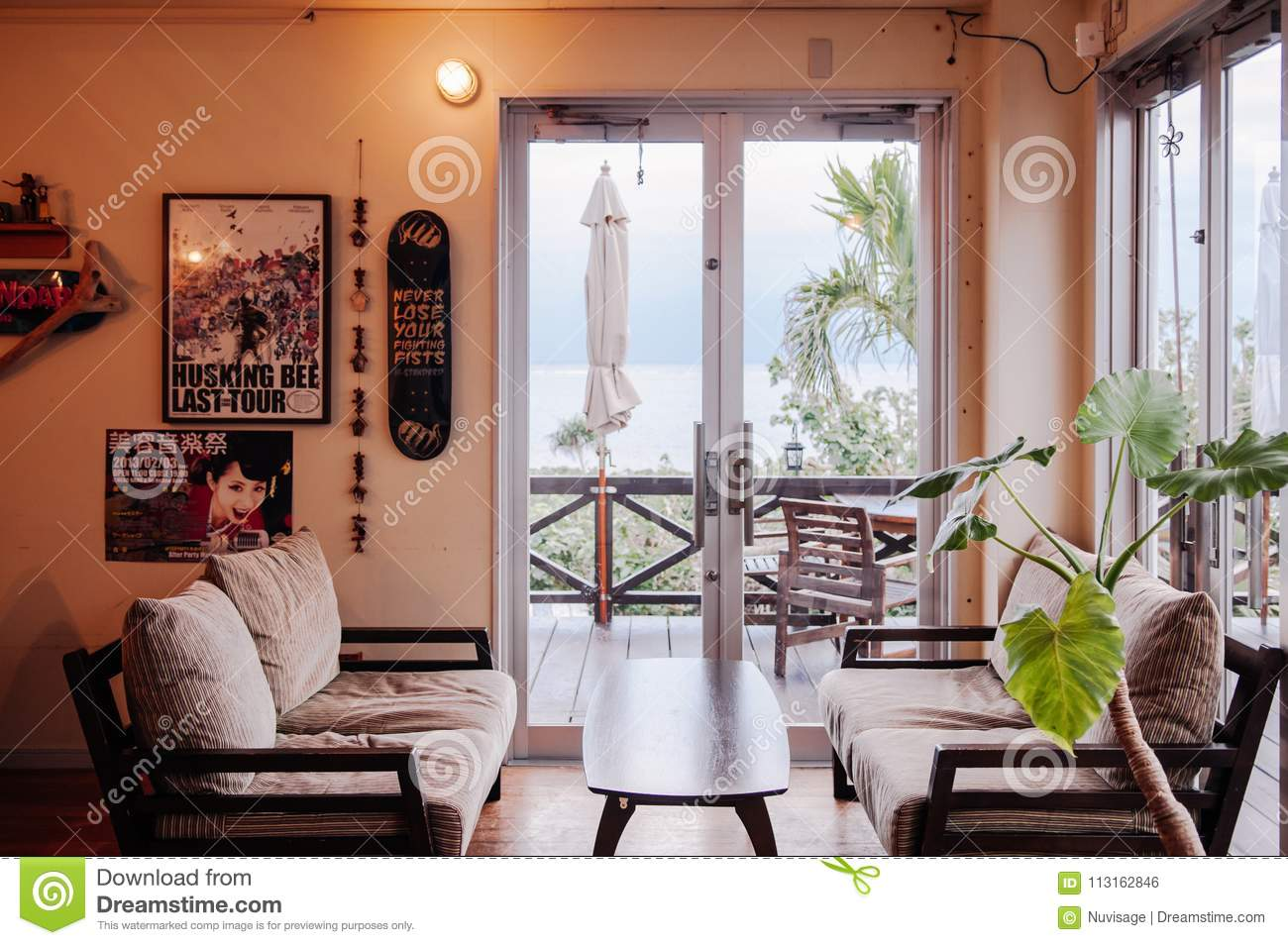 Japanese Contemporary Style Living Room With A View Editorial Photo Image Of Architecture Green 113162846