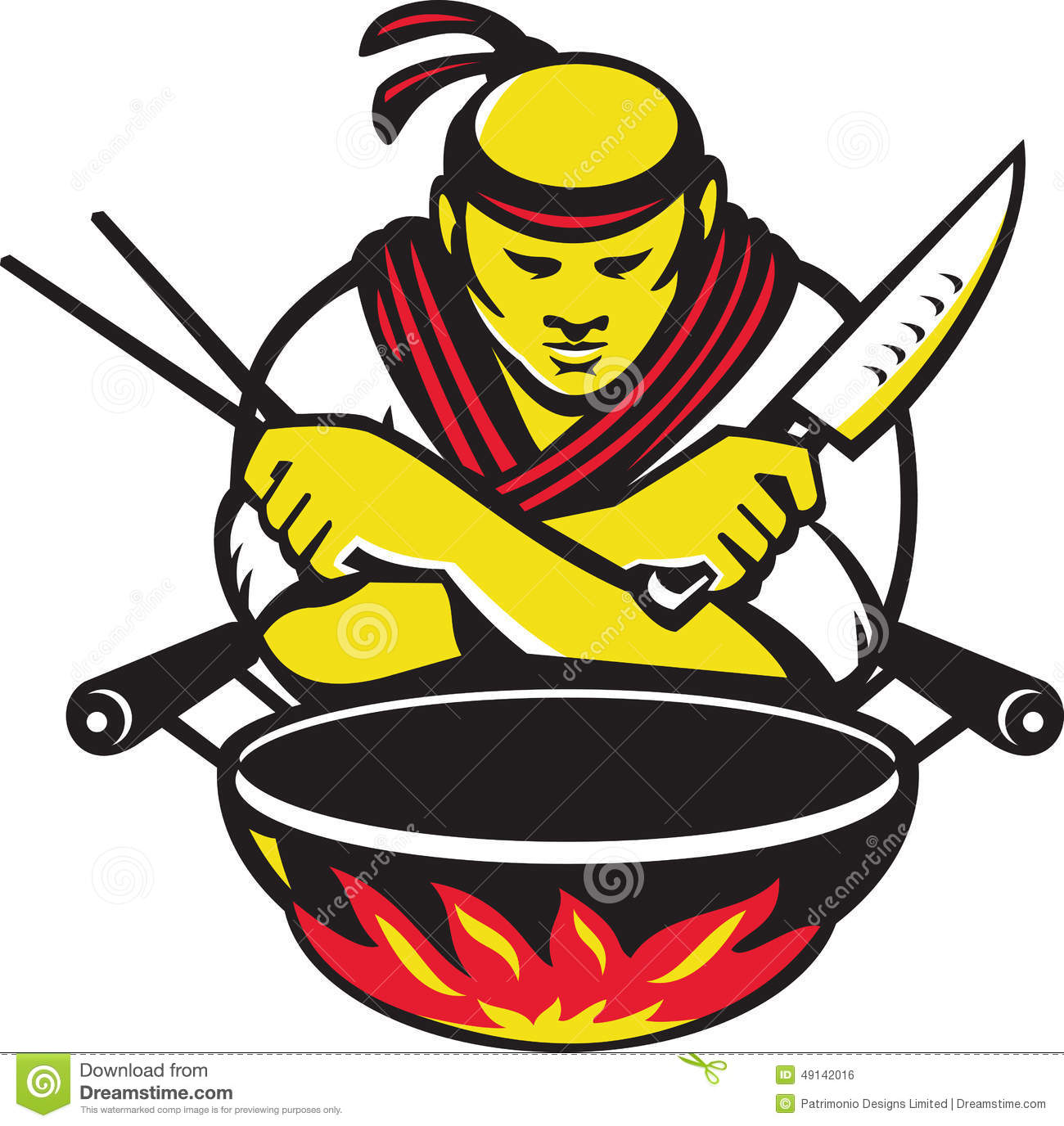 Japanese cook chef with knife wok stock vector image for Cuisinier wok