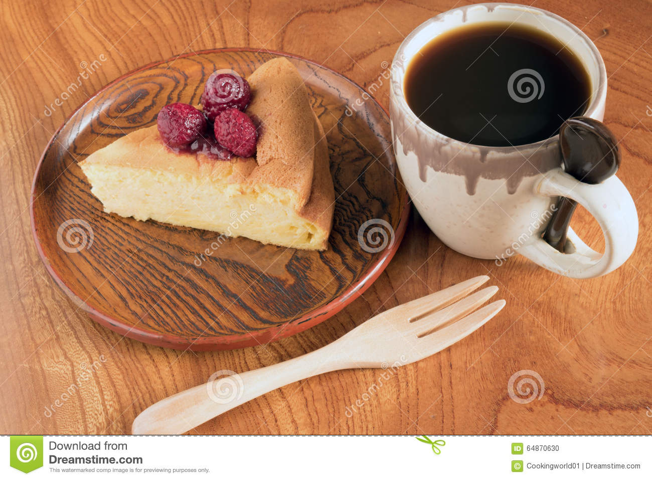 Japanese Cotton Cheese Cake With Raspberry Sauce Stock Photo Image