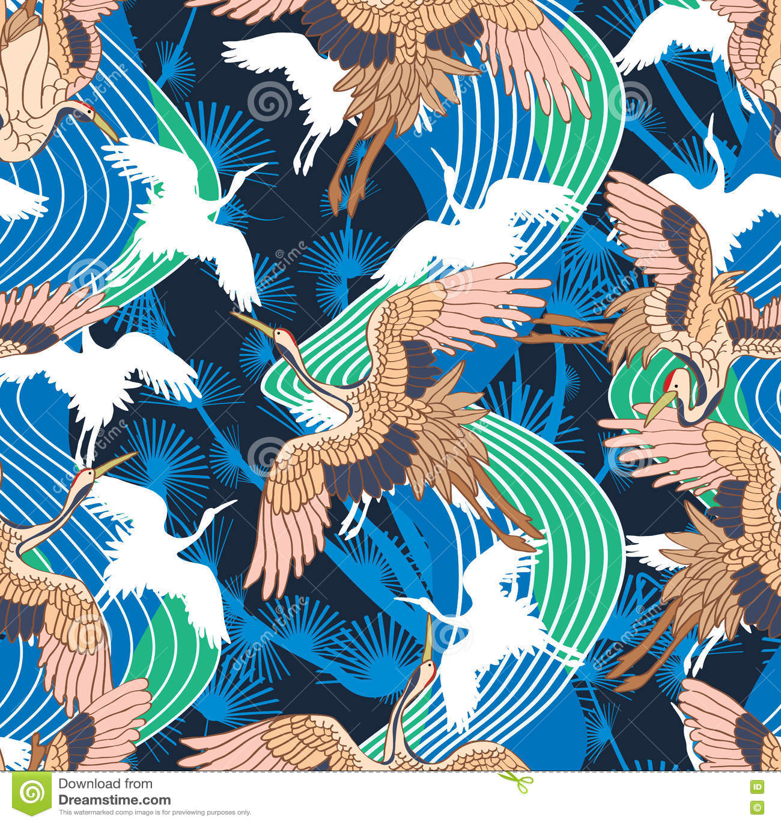 Japanese Crane Wave Seamless Pattern Stock Vector Image