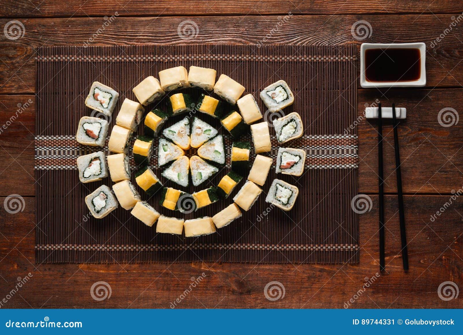 Japanese Cuisine Delicious Sushi Set Flat Lay Stock Image Image Of Traditional Rice 89744331