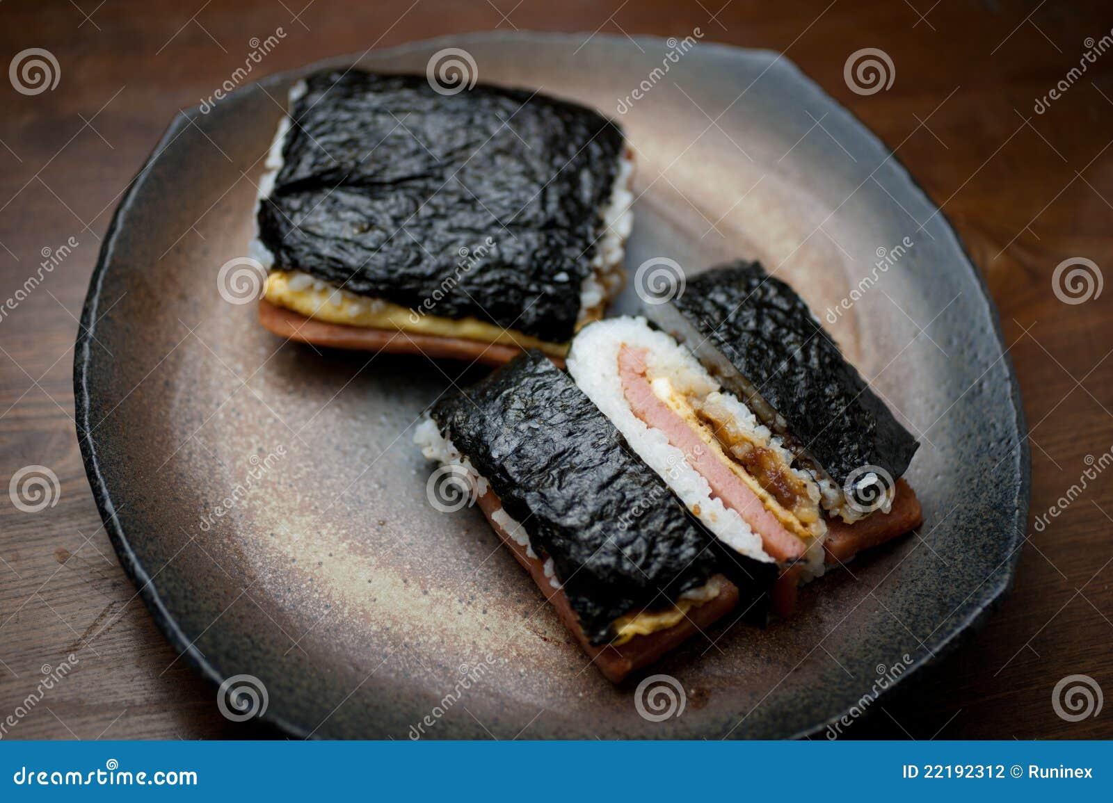 Japanese cuisine pork tamago onigiri