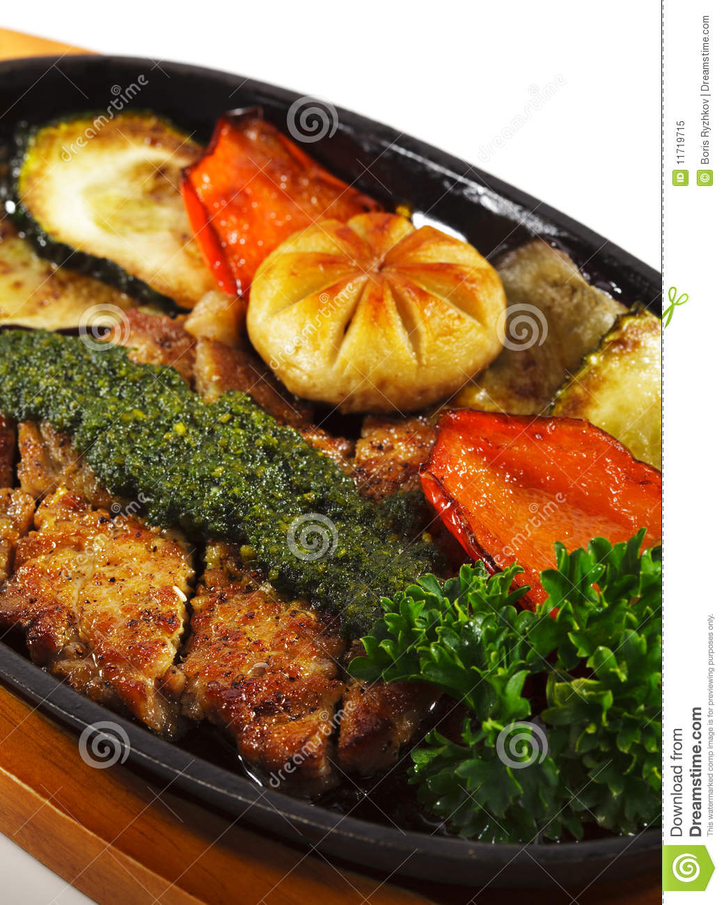Japanese cuisine - grilled pork with roasted vegetables and mushrooms