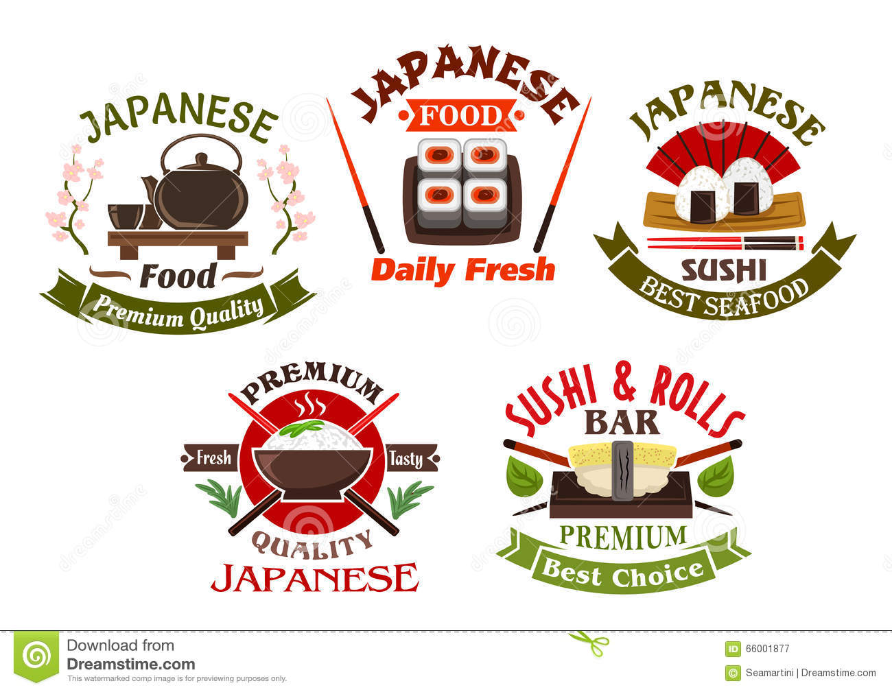 Japanese cuisine restaurant and sushi icons stock vector