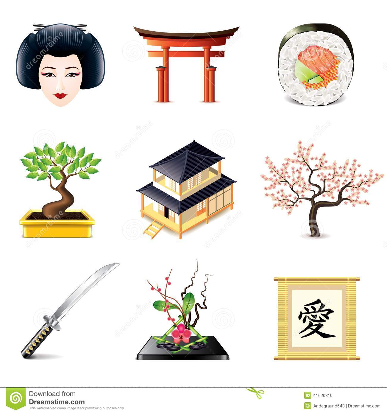 Japanese Culture Symbols Flat Icons Set Stock Vector Illustration