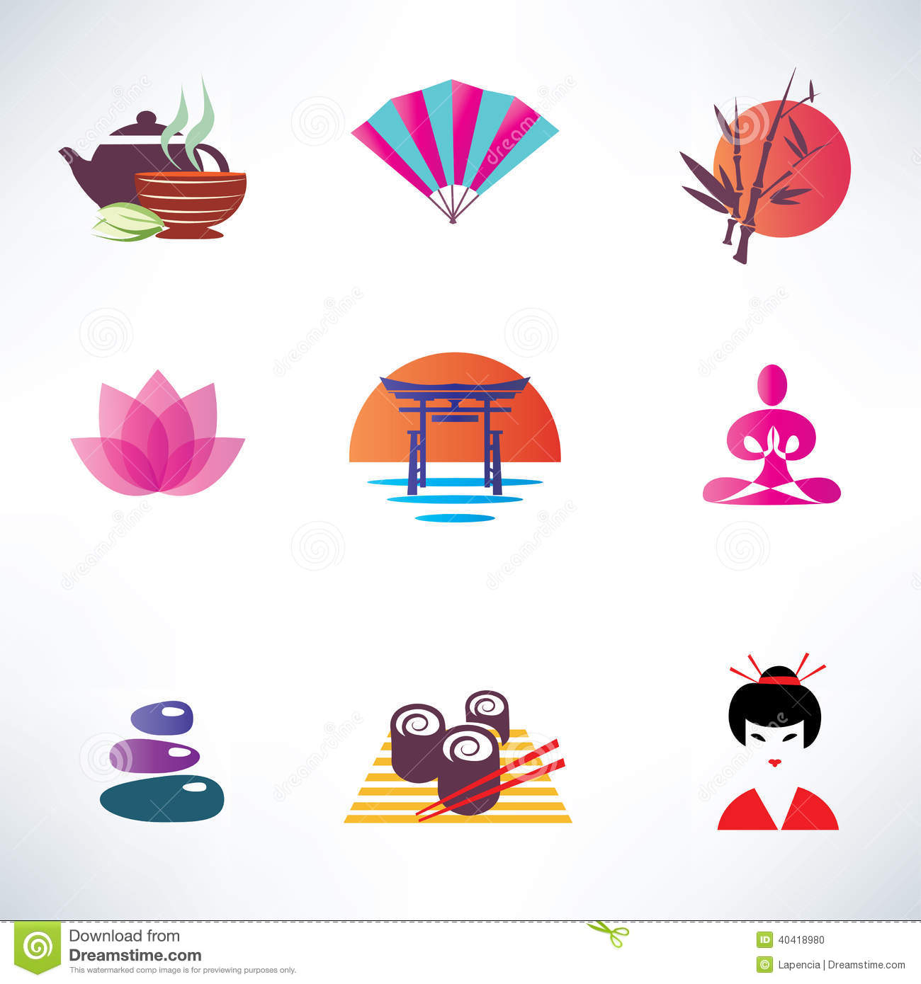 Japanese Culture Icons Set Stock Vector Illustration Of Mountain