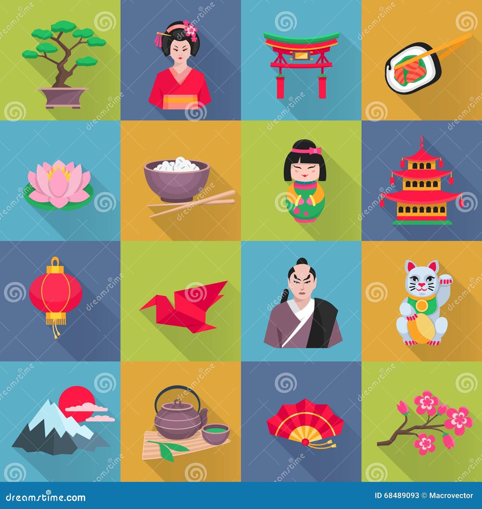 Japanese Culture Symbols Flat Icons Set Stock Illustration ...