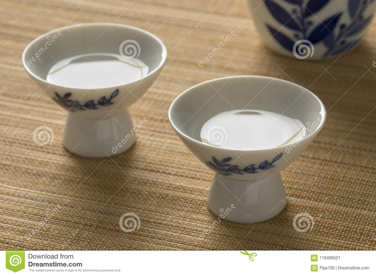 Japanese cups with sake