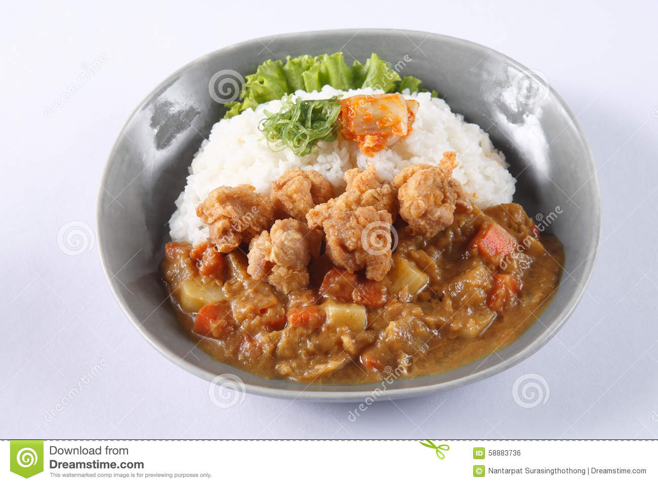 Japanese Curry Rice With Japanese Fried Chicken (Karaage) Isolat Stock ...