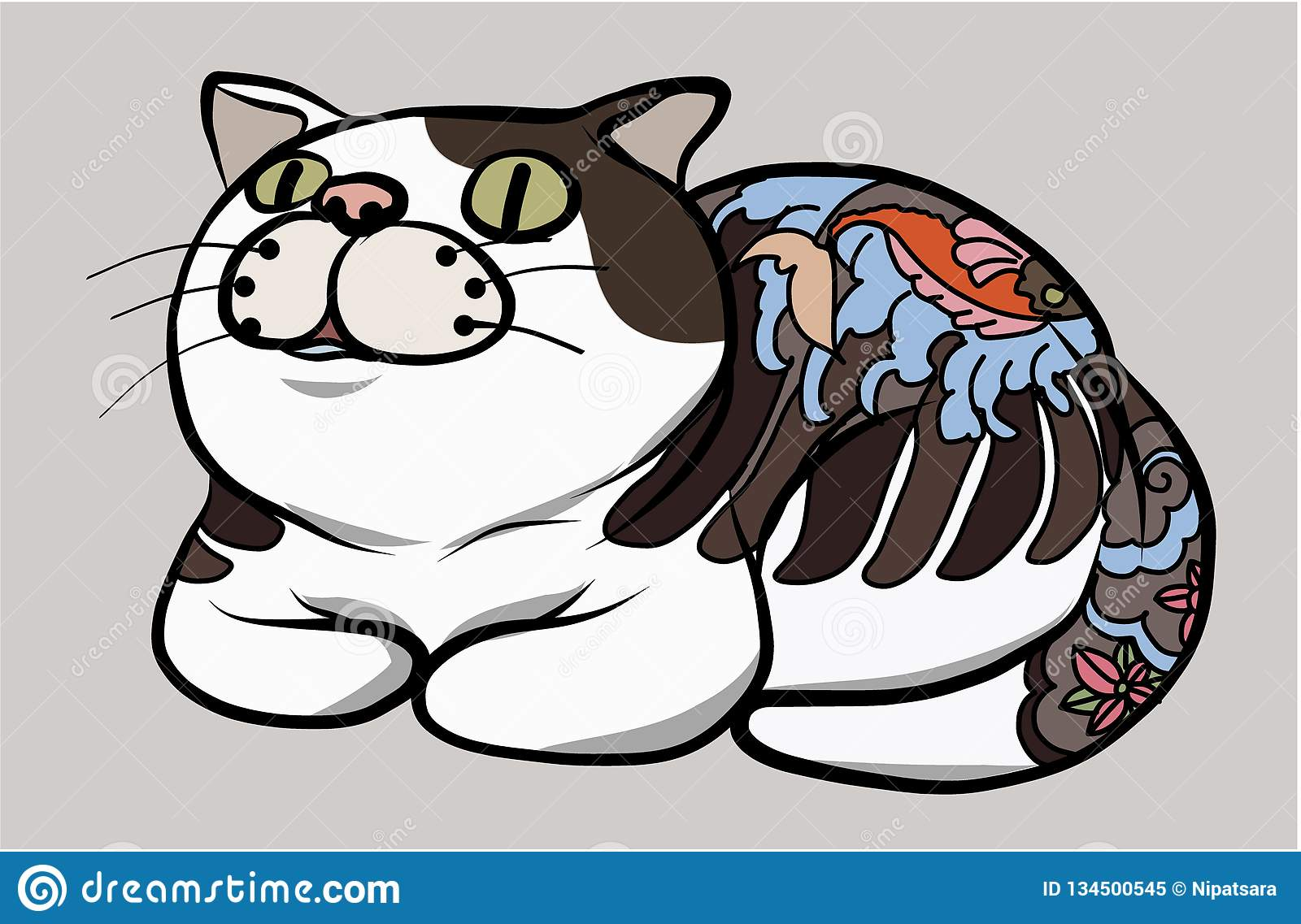 0a90ad331 Japanese Cute Cat With Traditional Tattoo.Hand Drawn Cat Vector ...