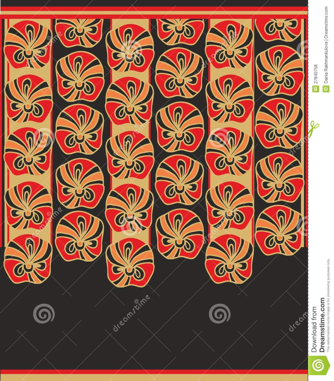 Japanese Decorative Seamless Border Design Stock