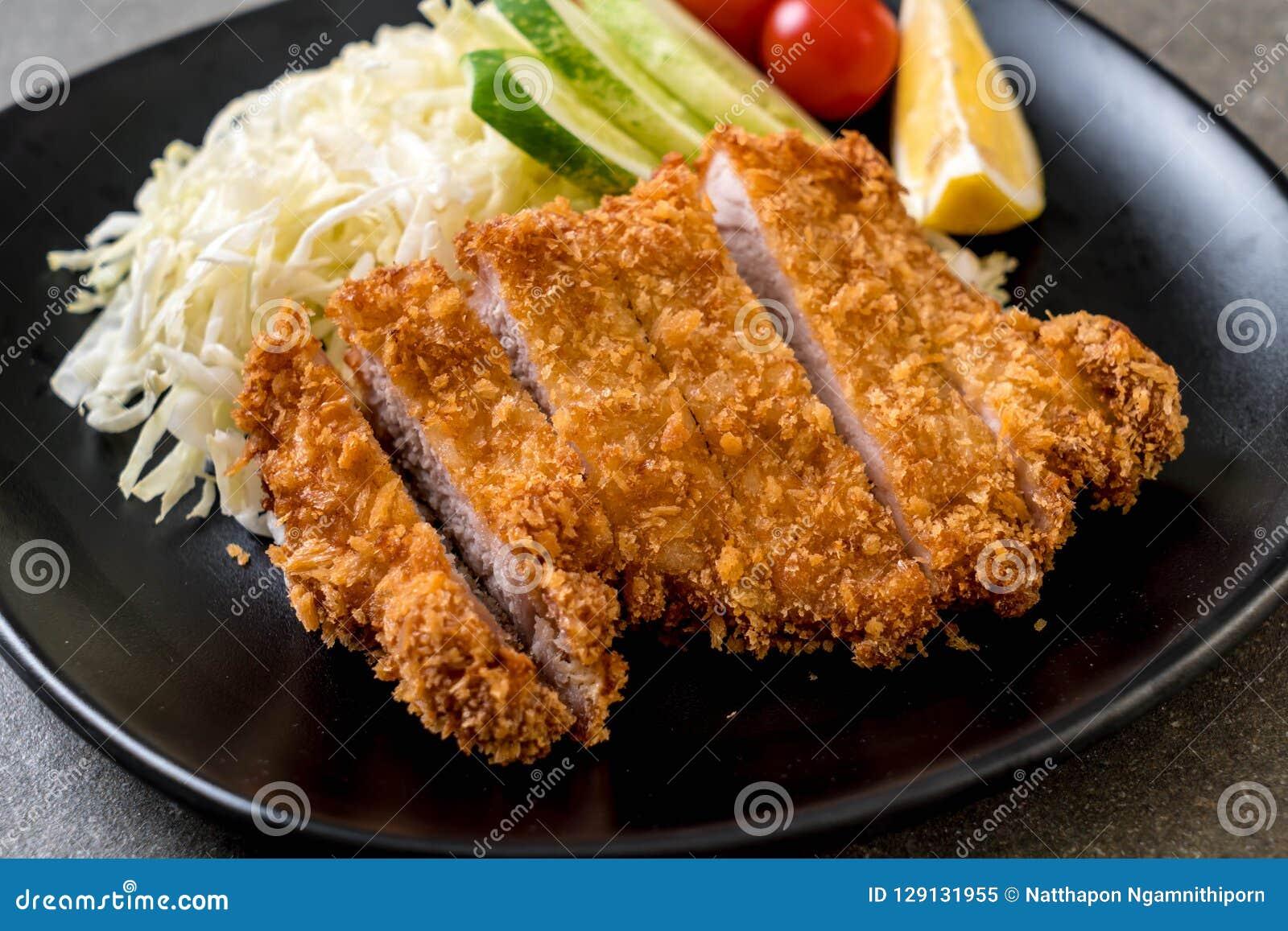 Japanese Deep Fried Pork Cutlet (tonkatsu Set) Stock Image