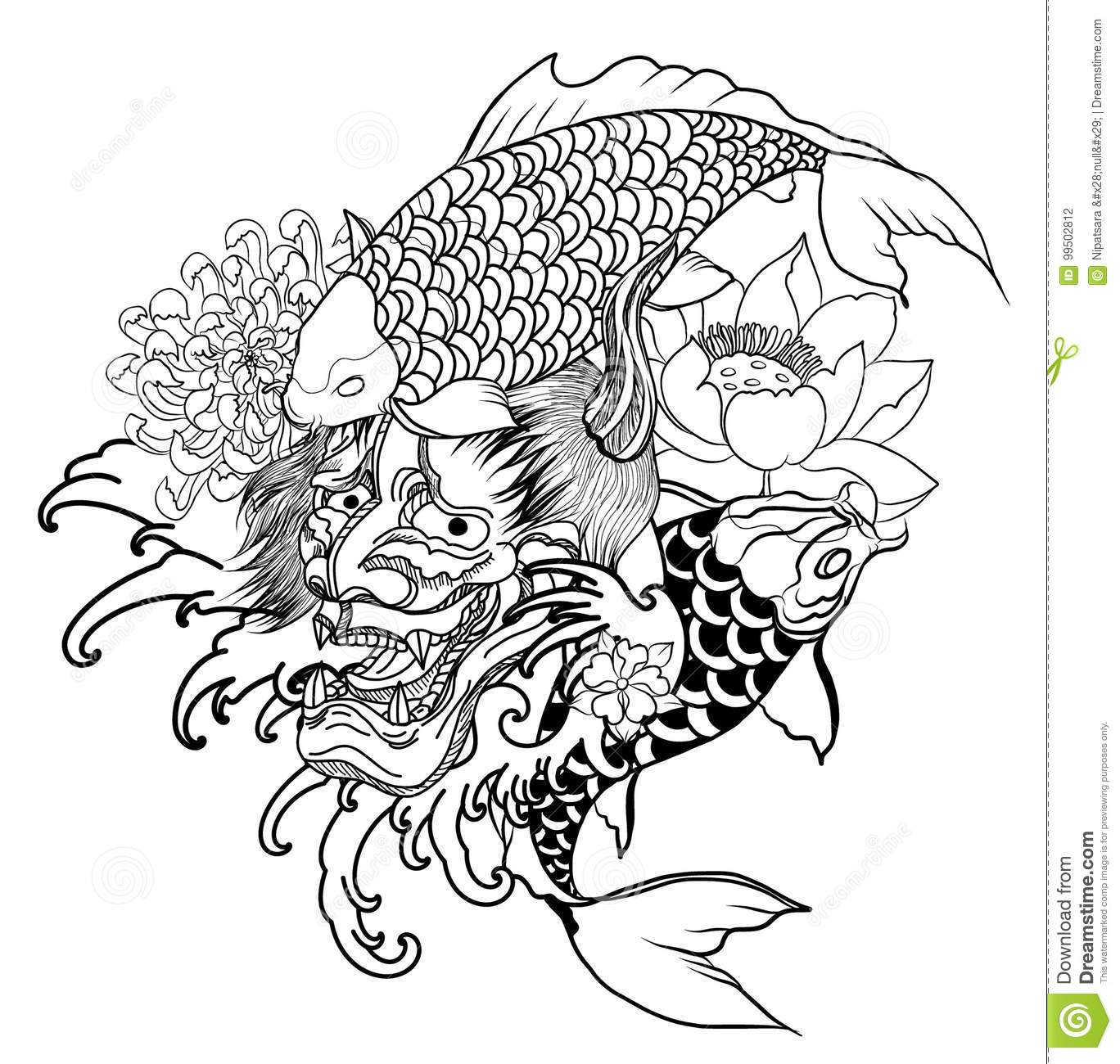 03831e1fc7a76 Japanese Demon mask and carp fish tattoo design.hand drawn Oni mask with  chrysanthemum flower