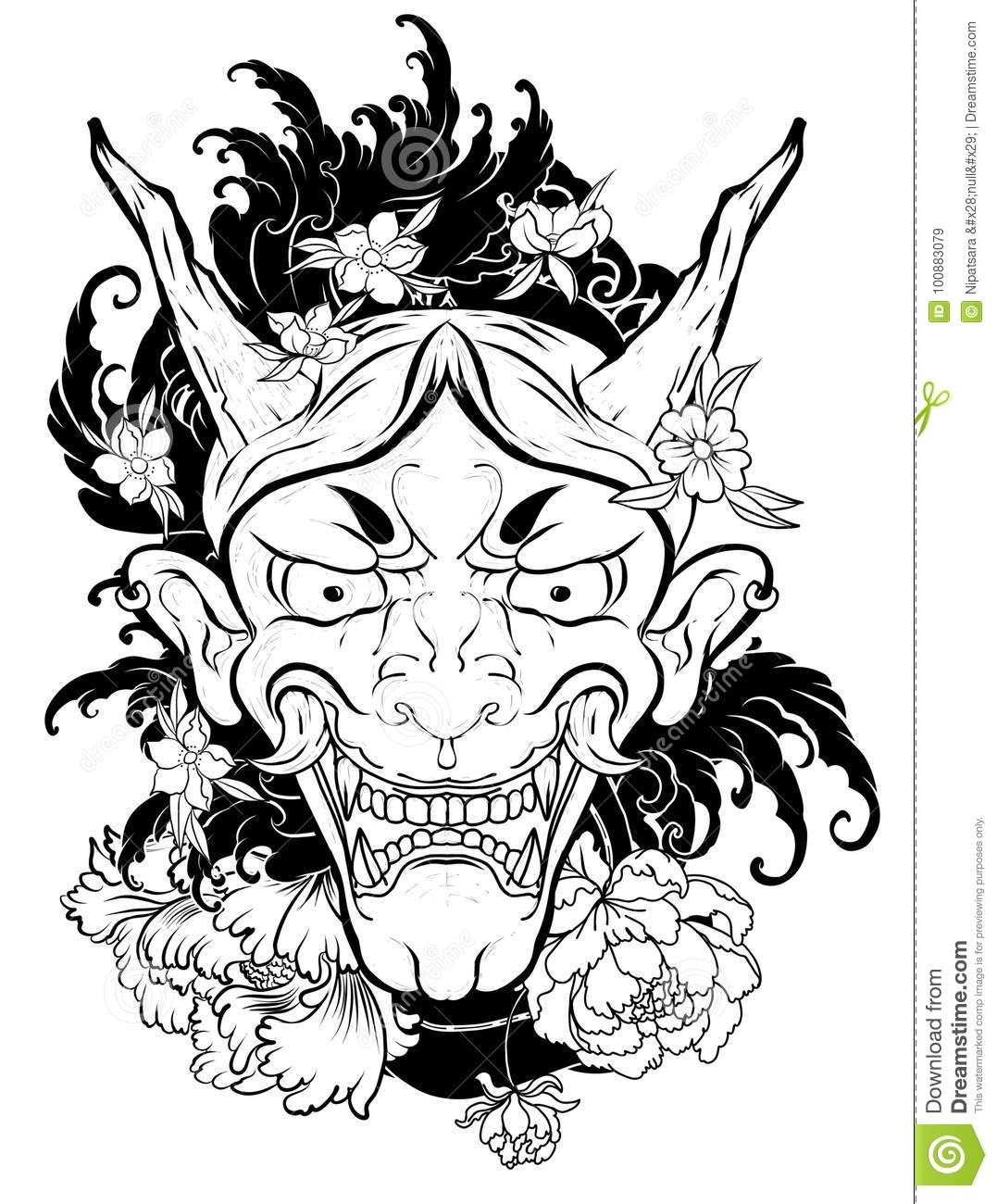 Japanese Demon Mask Tattoo For