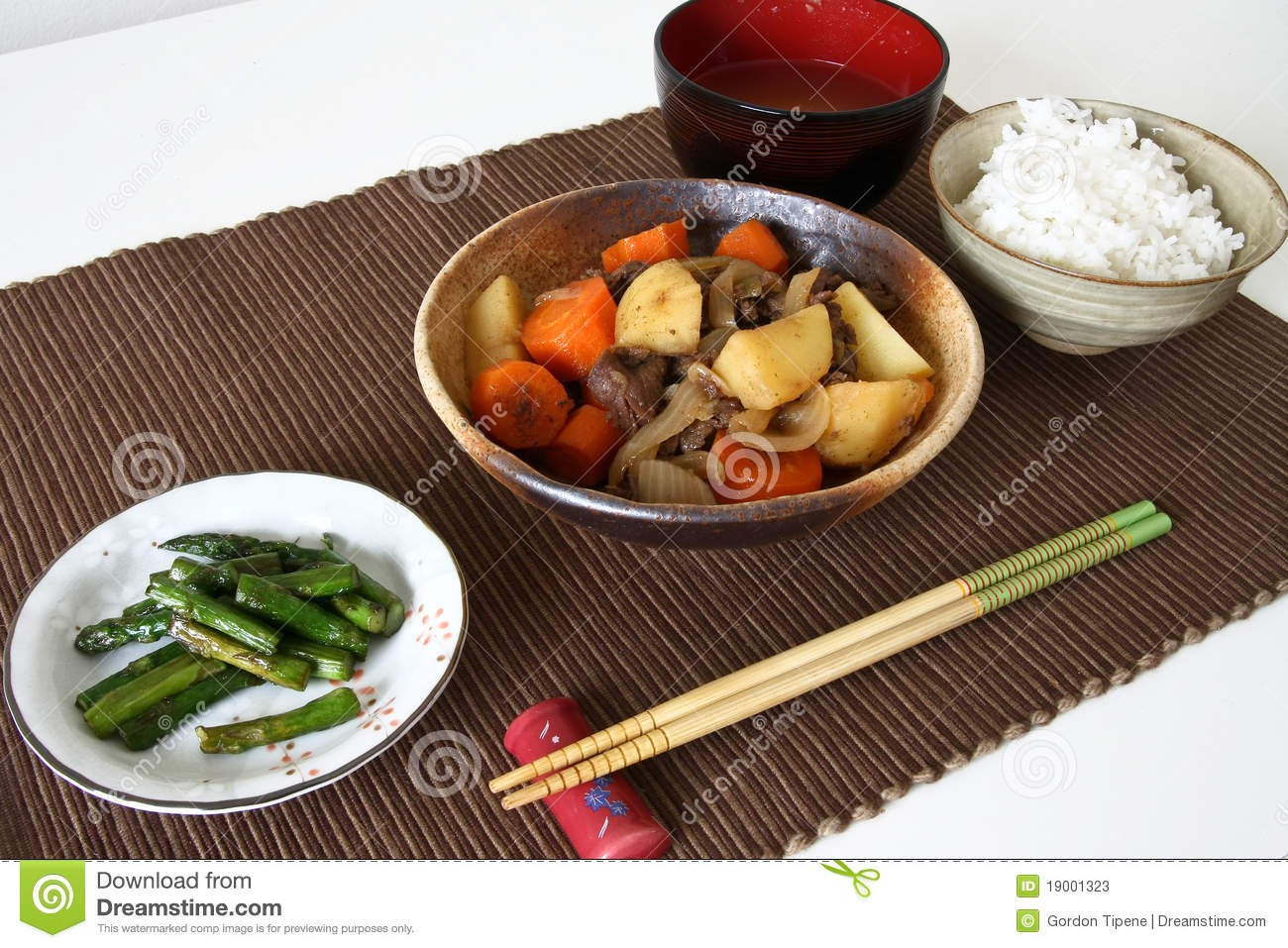 Japanese Dinner Meal On Mat Stock Photos Image 19001323