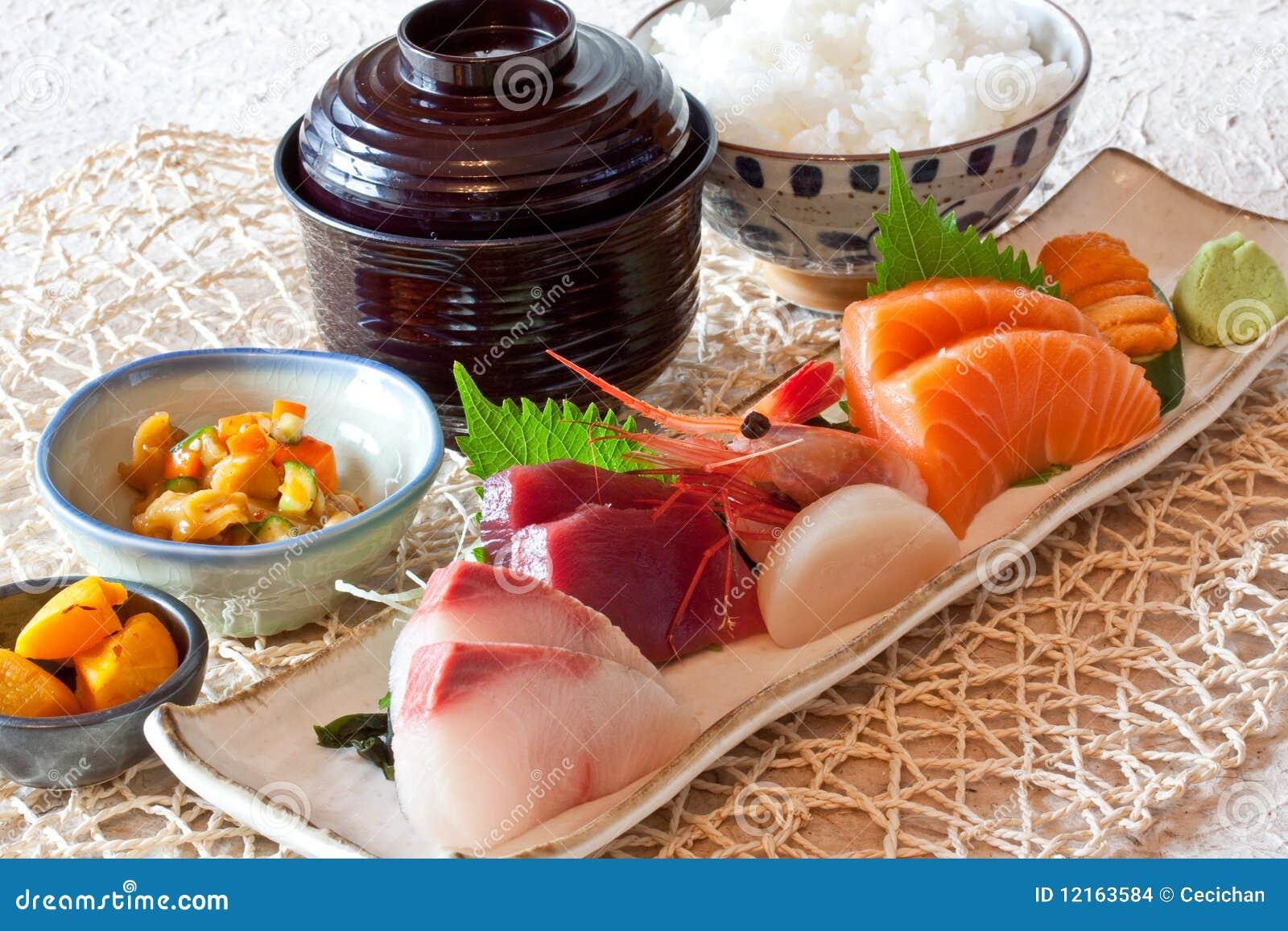 Japanese Dishes Sushi amp Rice Dinning Set Stock Images