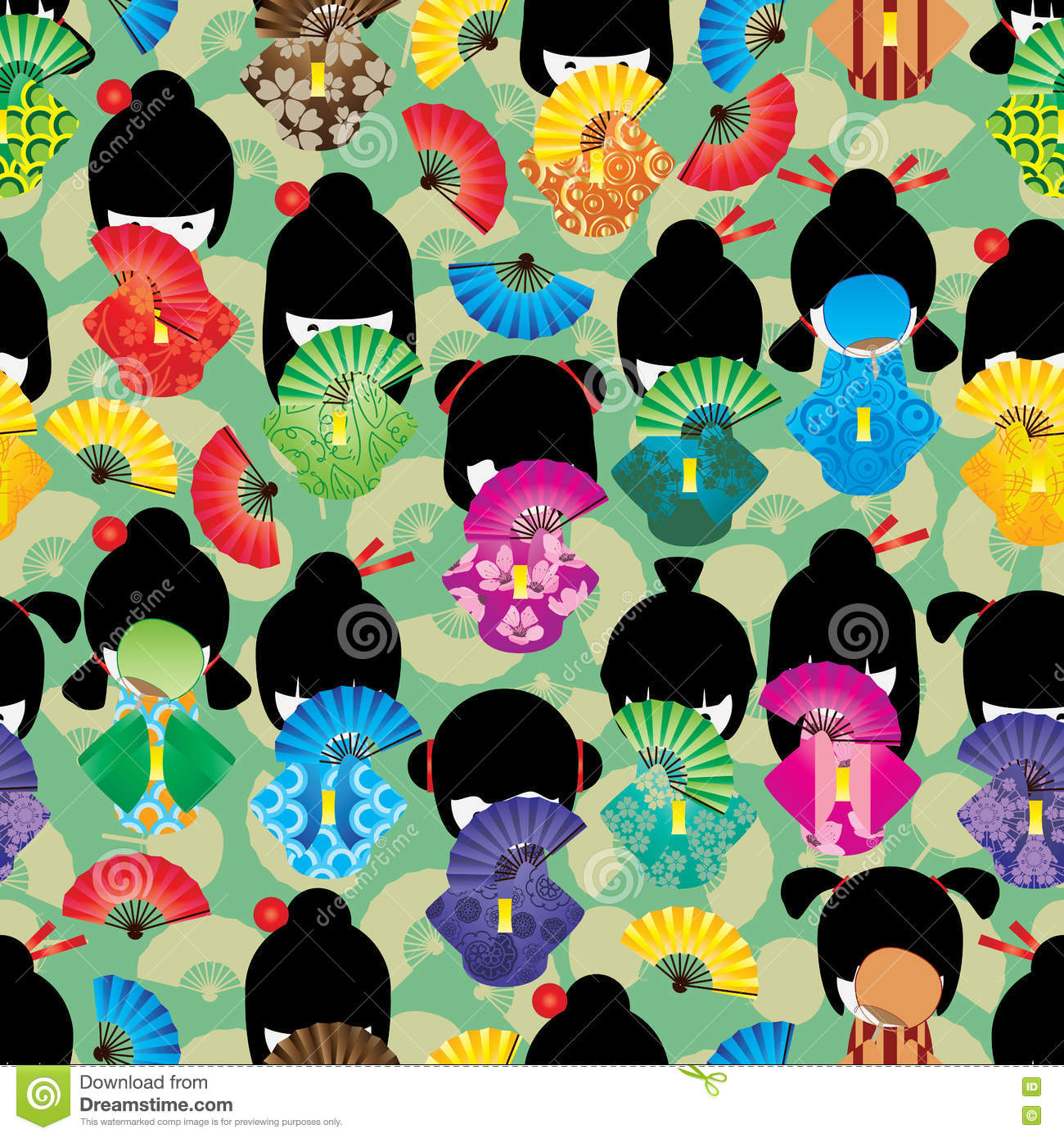 Japanese doll girl shy fan seamless pattern