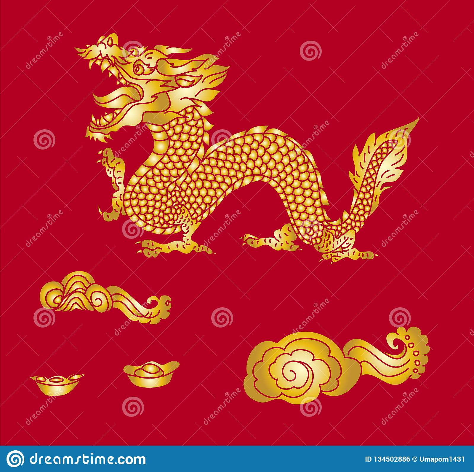 Japanese Dragon For Printing On Paper And For Tattoo Design