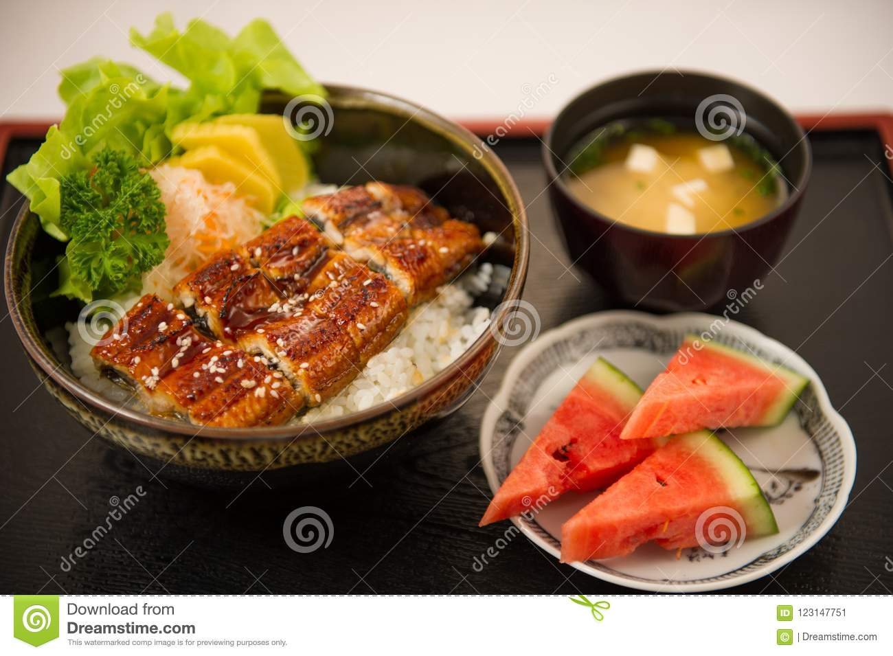 Japanese eel grilled with rice or Unagi don