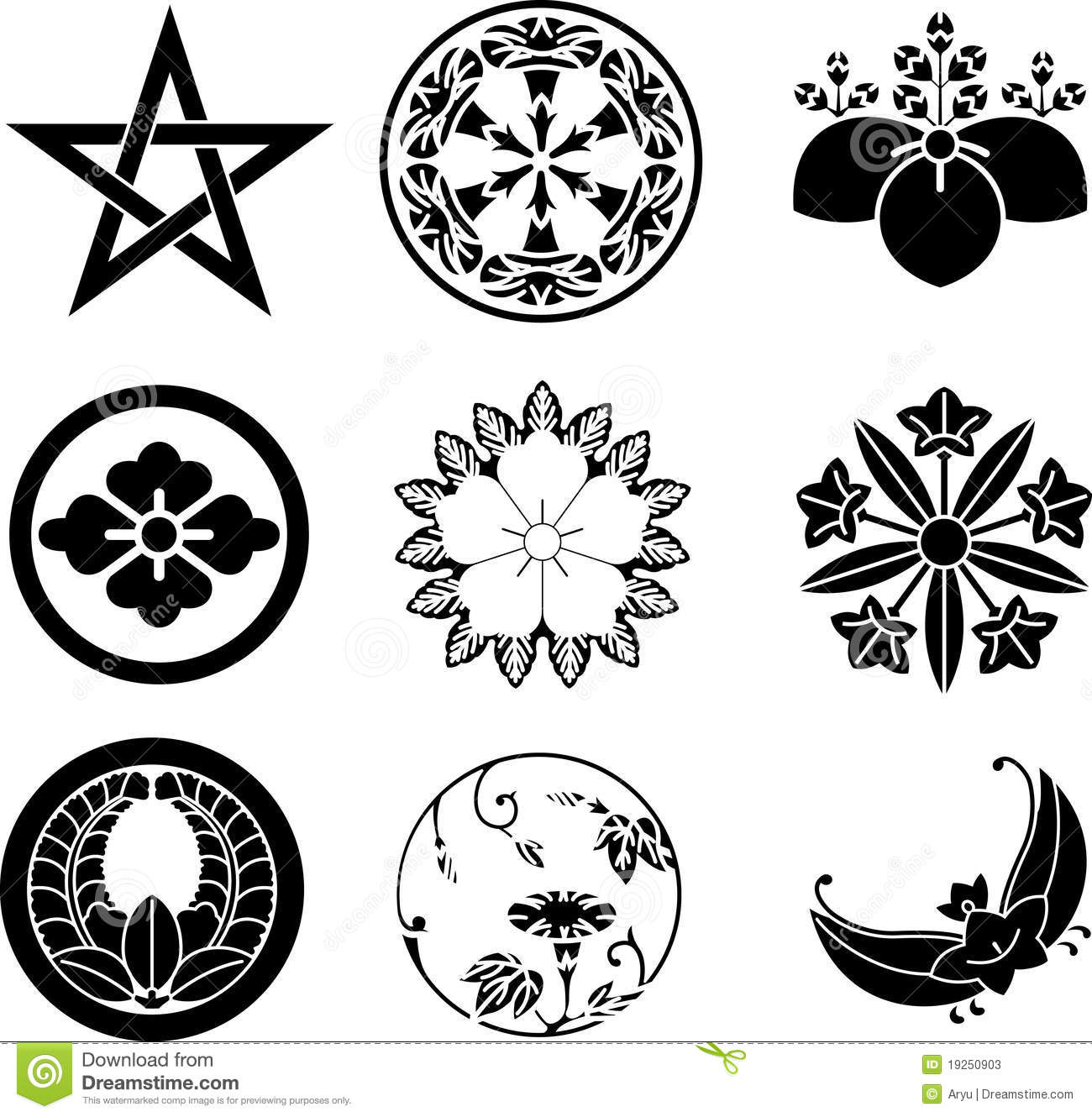 Japanese family crests stock vector illustration of black 19250903 japanese family crests biocorpaavc Gallery