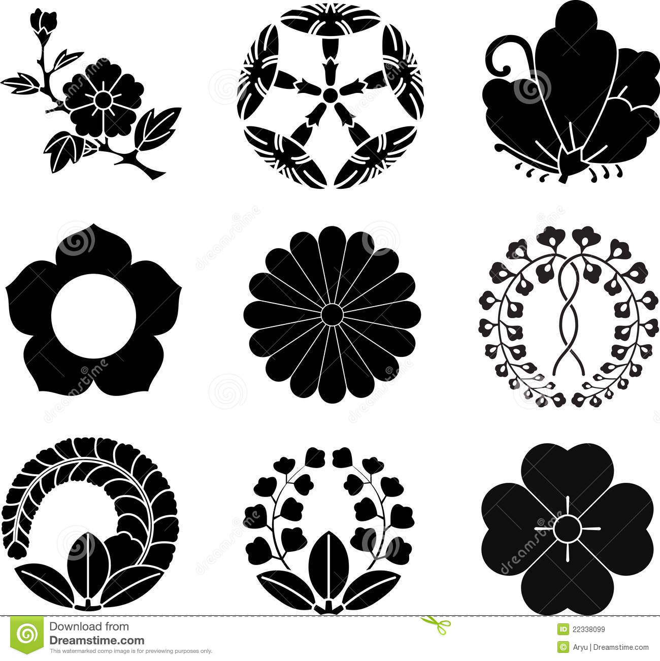Japanese Family Crests Stock Vector Illustration Of Japanese 22338099