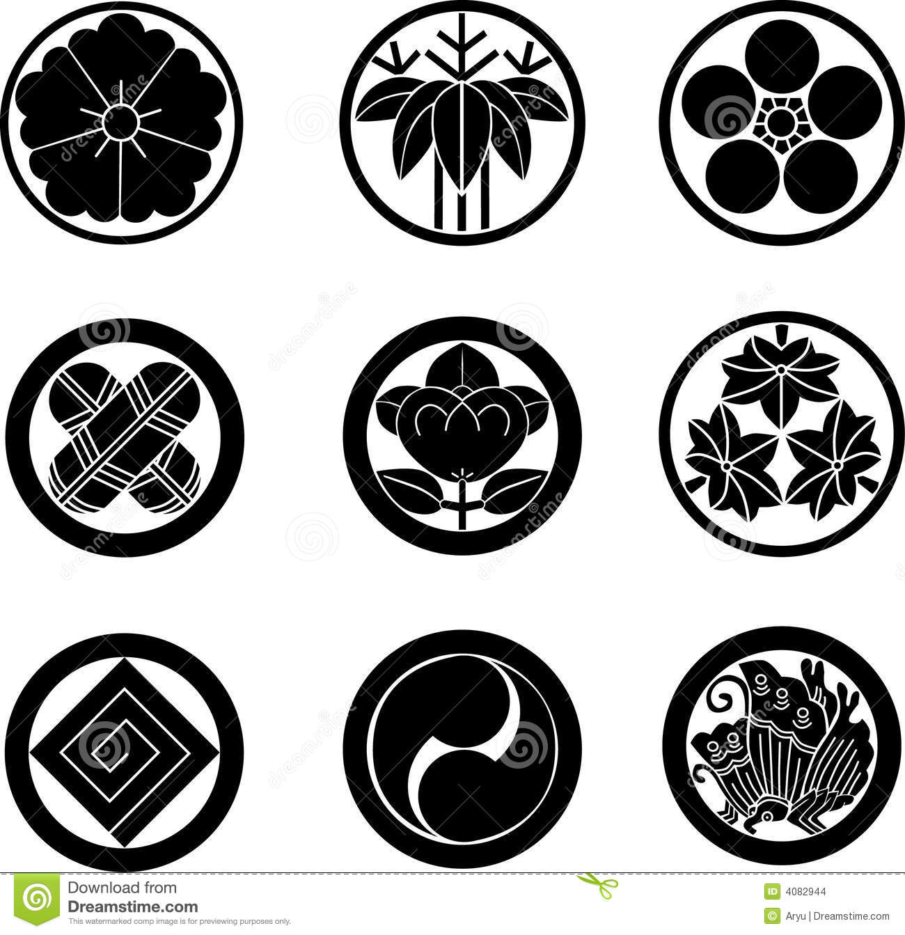 Japanese Family Crests Stock Vector Illustration Of Blossom 4082944