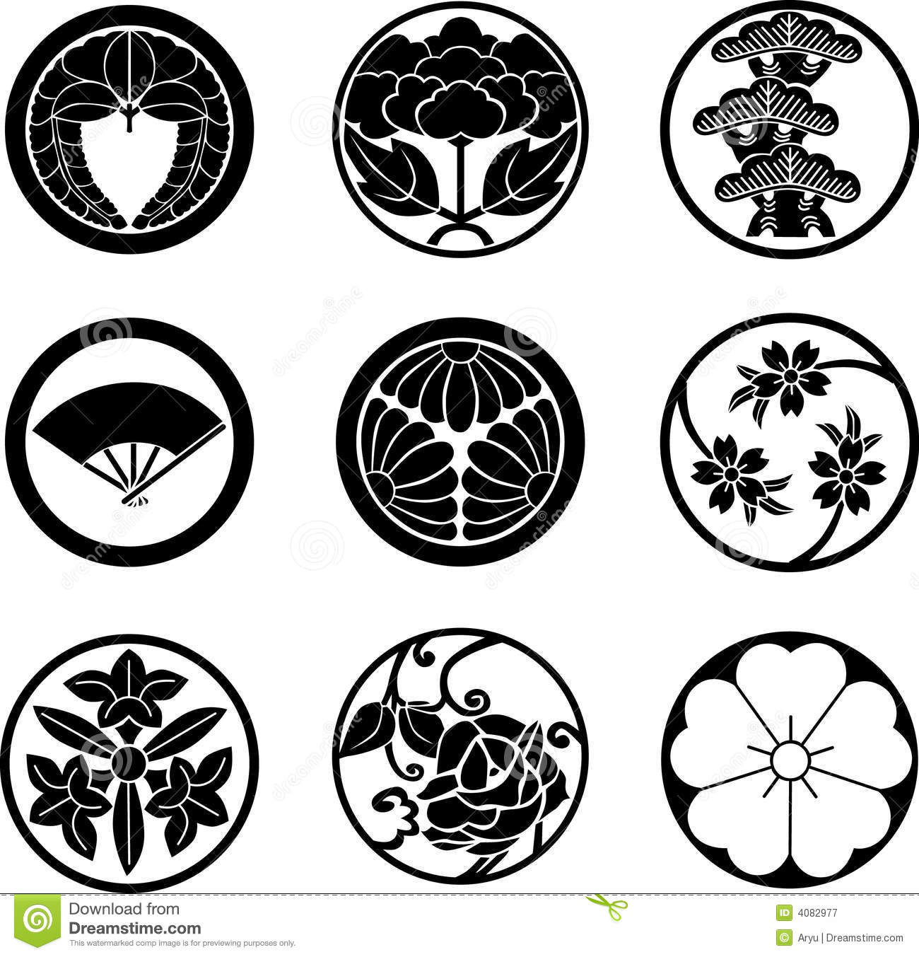 Japanese family crests stock vector illustration of chrysanthemum japanese family crests biocorpaavc