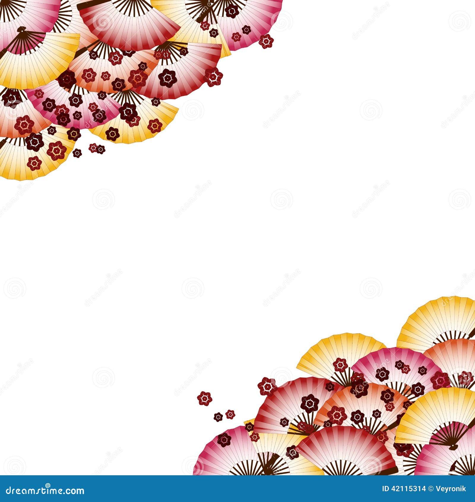 Japanese Fan Pattern Background Stock Vector ...
