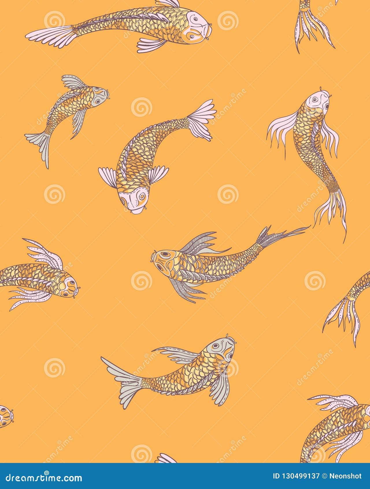 Japanese Fishes Pattern Stock Illustration Illustration Of