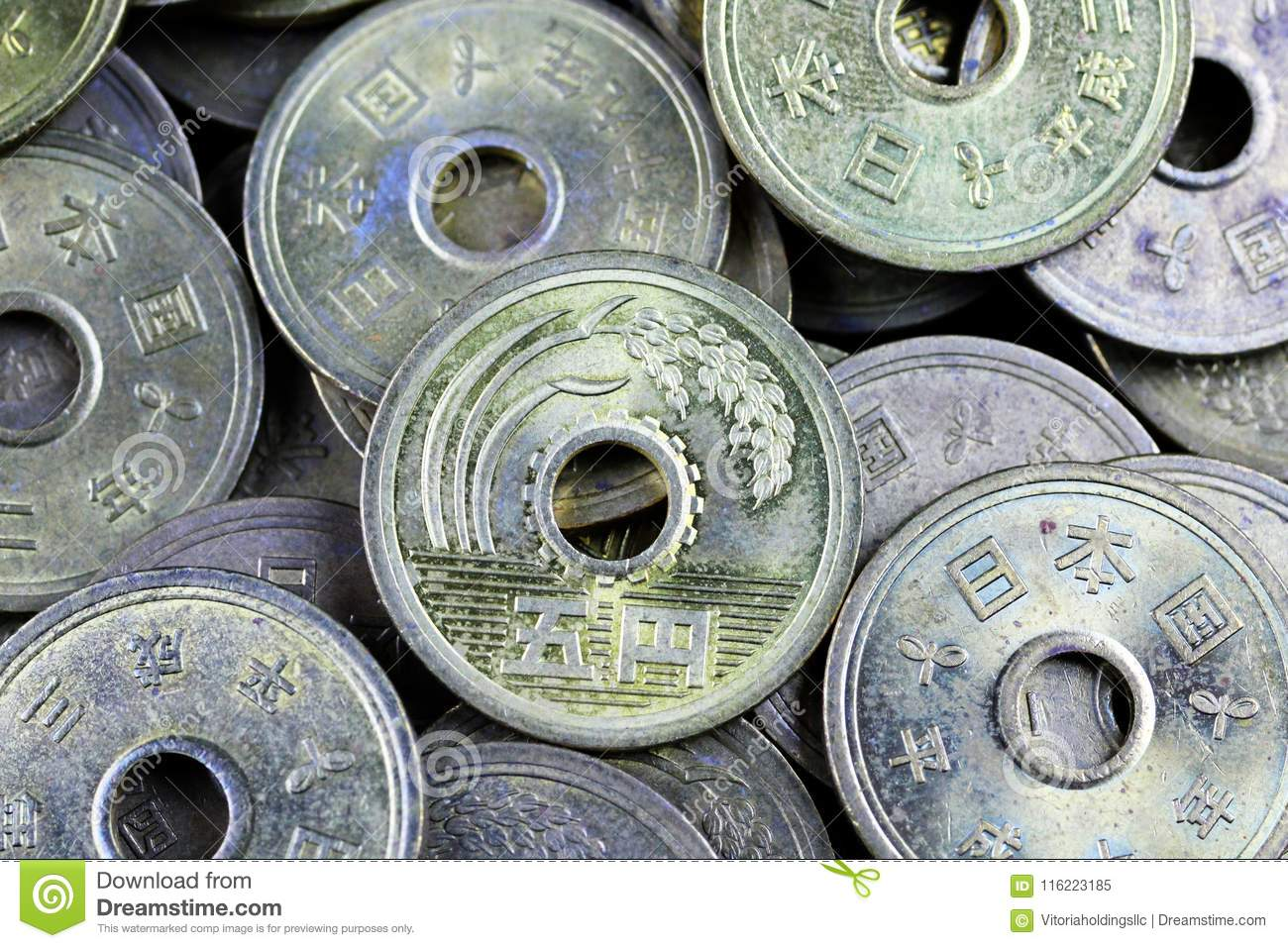 japanese five yen coins on a black background stock image image of