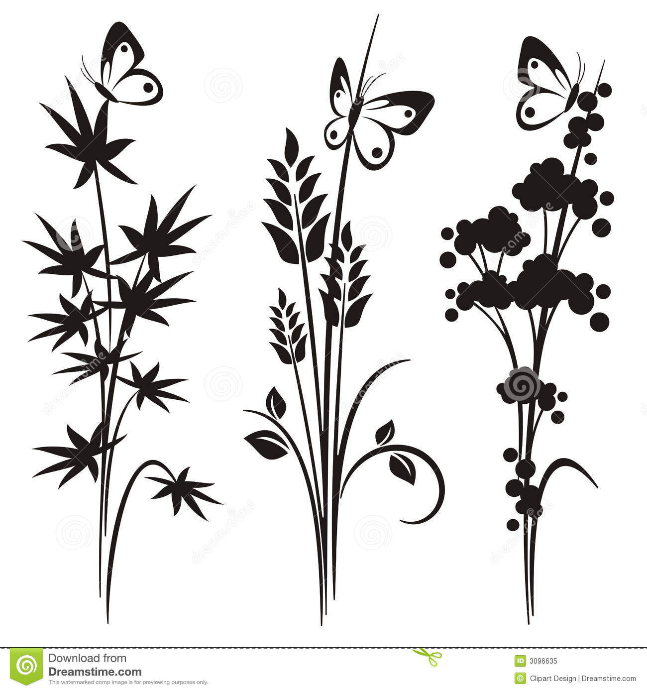 Six Black Flower Design Stock Images: Japanese Floral Design Series Stock Vector