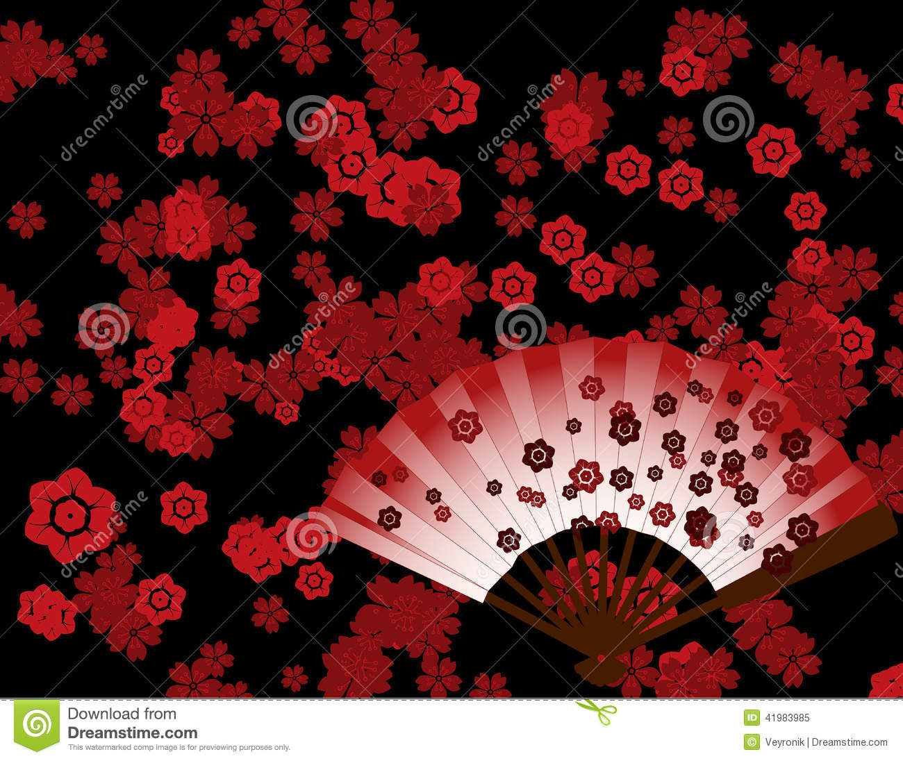 Japanese Flower Wallpaper With Fan Stock Vector - Image: 41983985