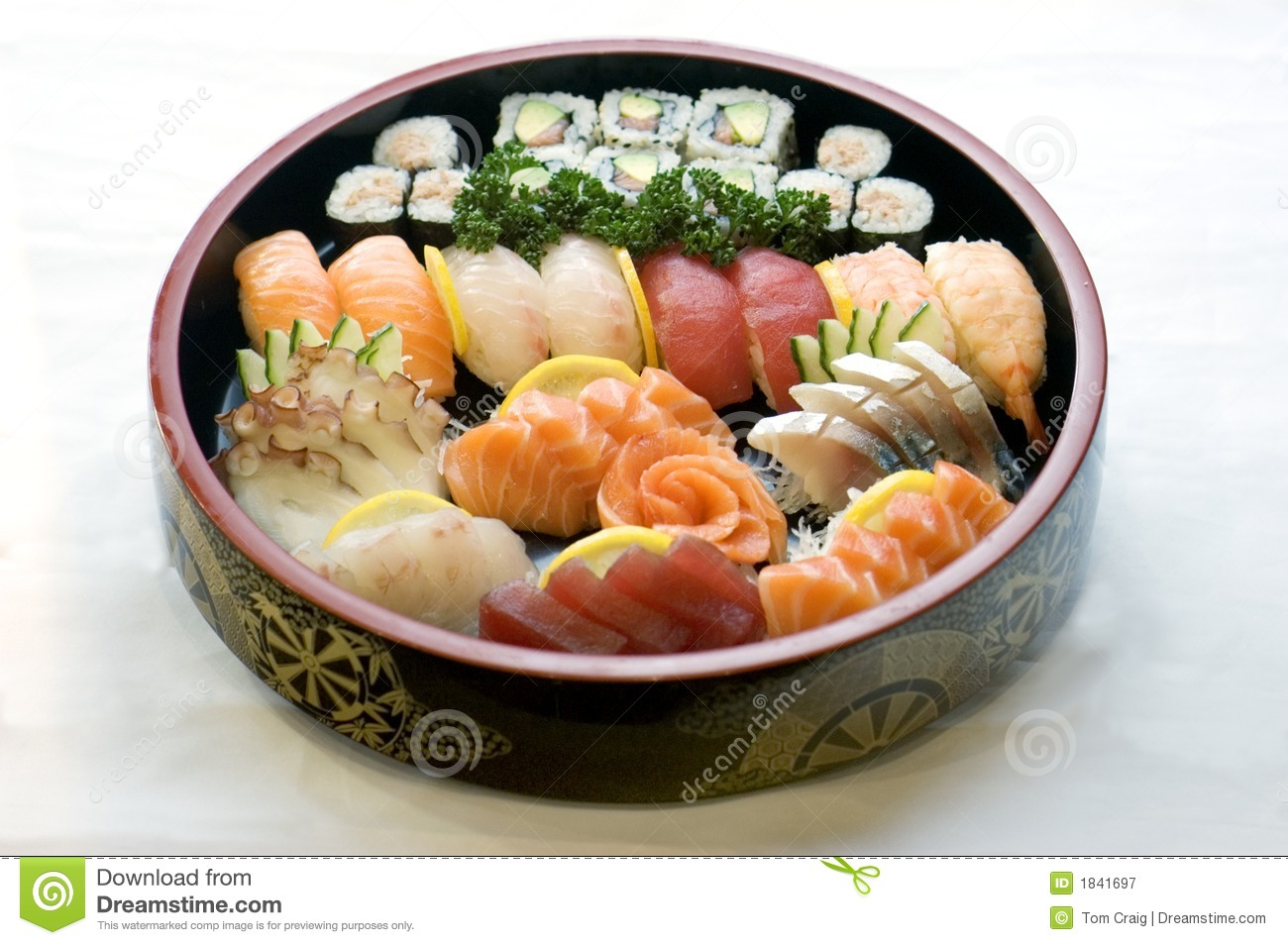 Japanese Food, Bowl Of Sashimi Royalty Free Stock Photography - Image ...