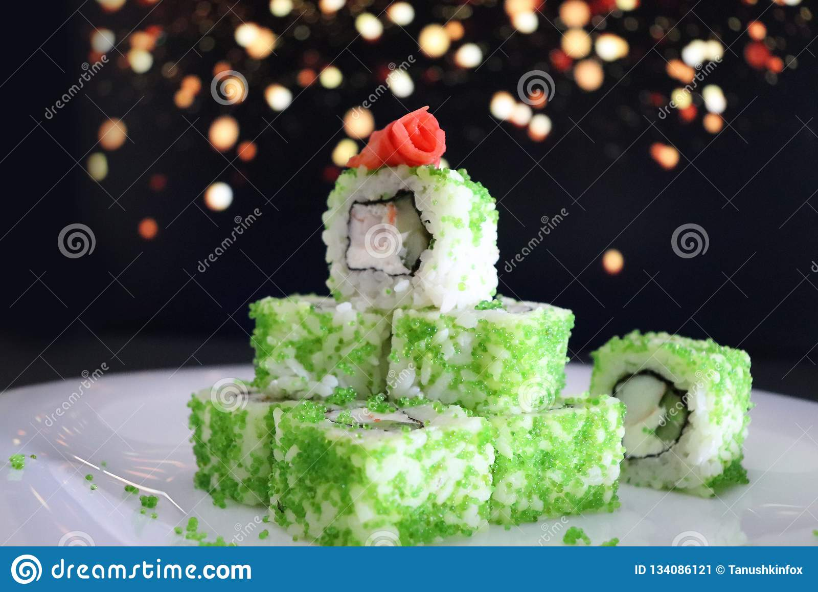 Japanese Christmas Tree.Japanese Food Christmas Sushi Christmas Tree Stock Image