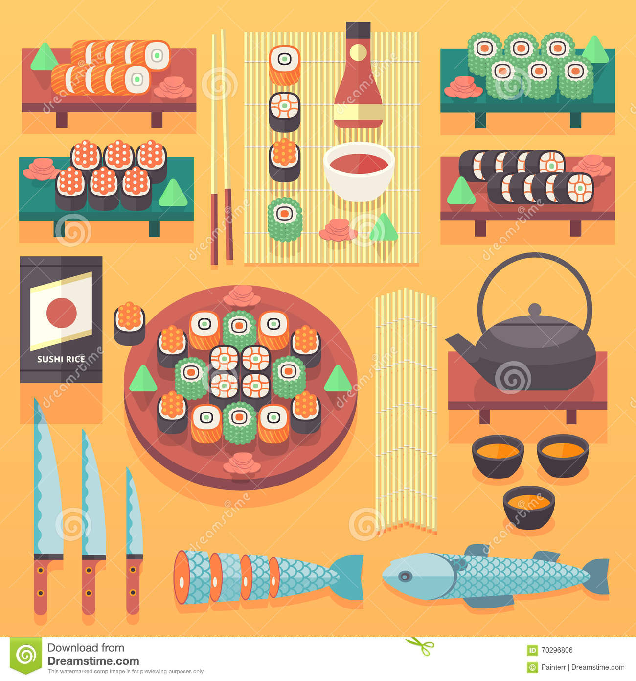 Japanese Traditional Kitchen Design: Japanese Food And Cuisine Illustration. Flat Vector