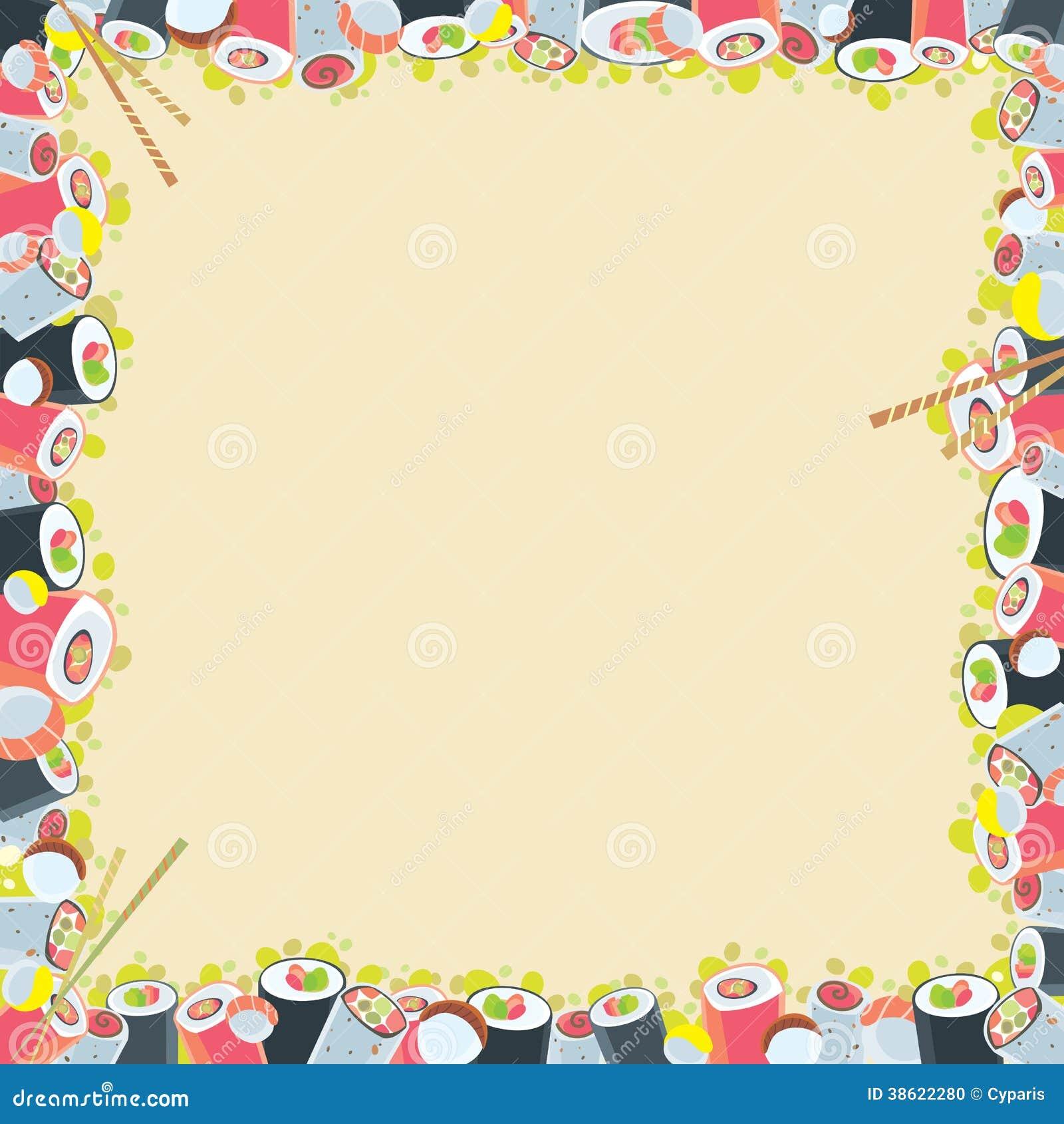 Japanese food frame stock vector image of menu sushi - Paragueros antiguos ...