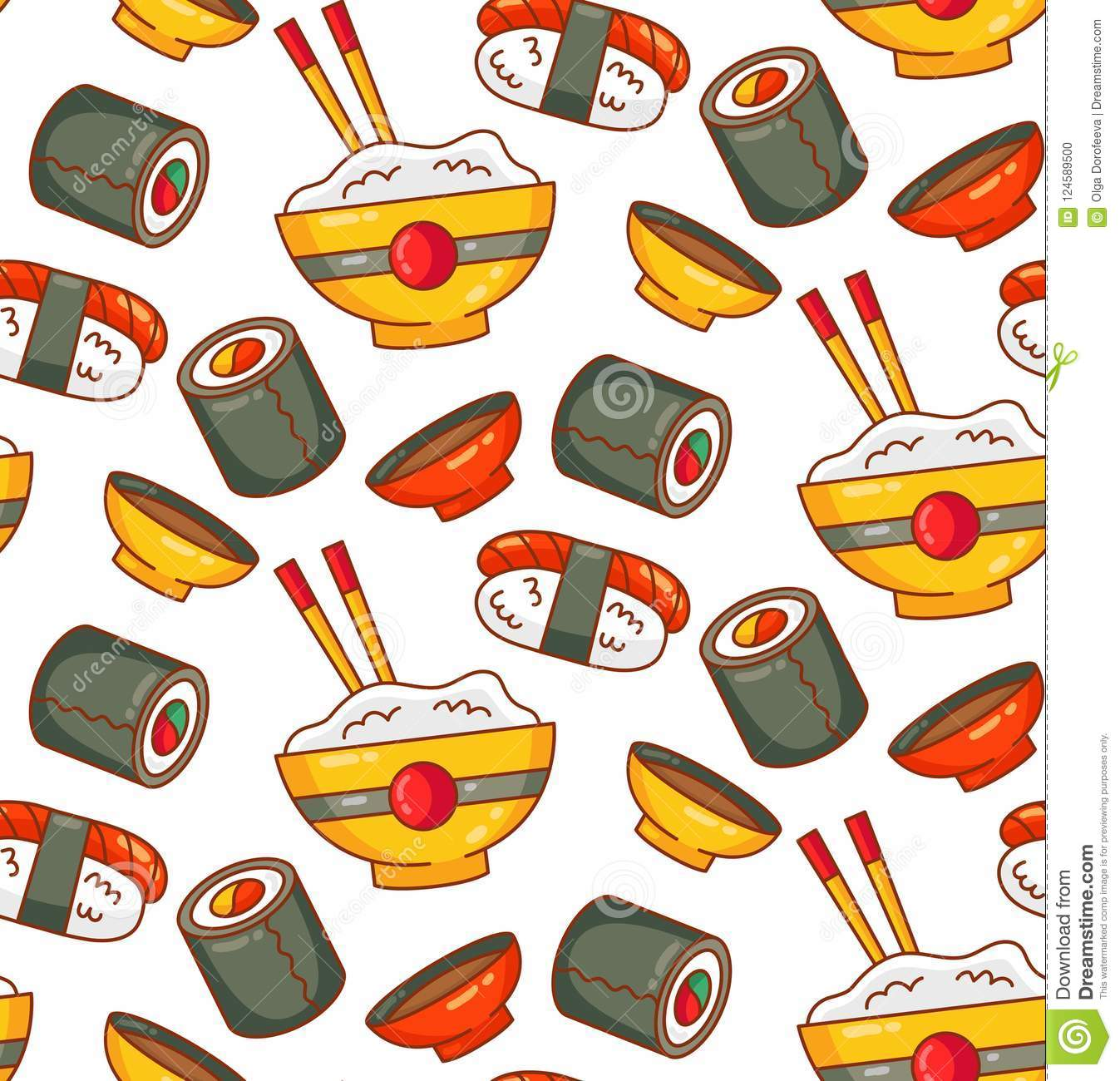 Japanese food icons sushi roll seamless vector pattern