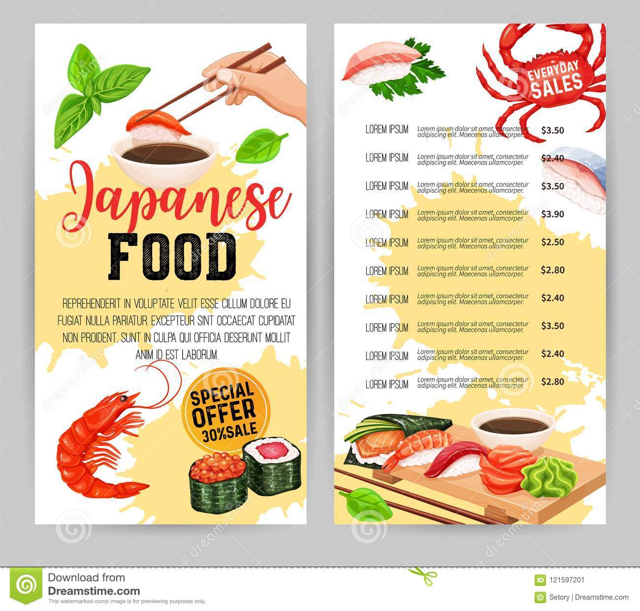 japanese food menu design stock vector illustration of asia 121597201