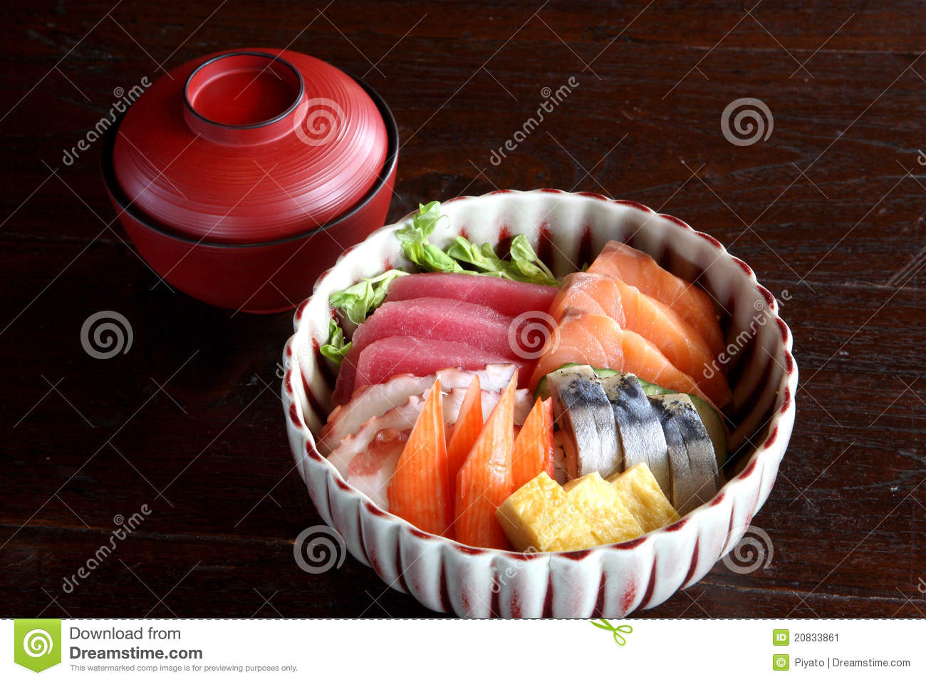 Japanese food mix raw fish on sushi rice stock image for Is sushi raw fish