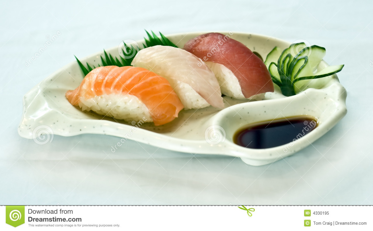 Japanese food plate of sushi sliced raw fish royalty for Best fish for sushi