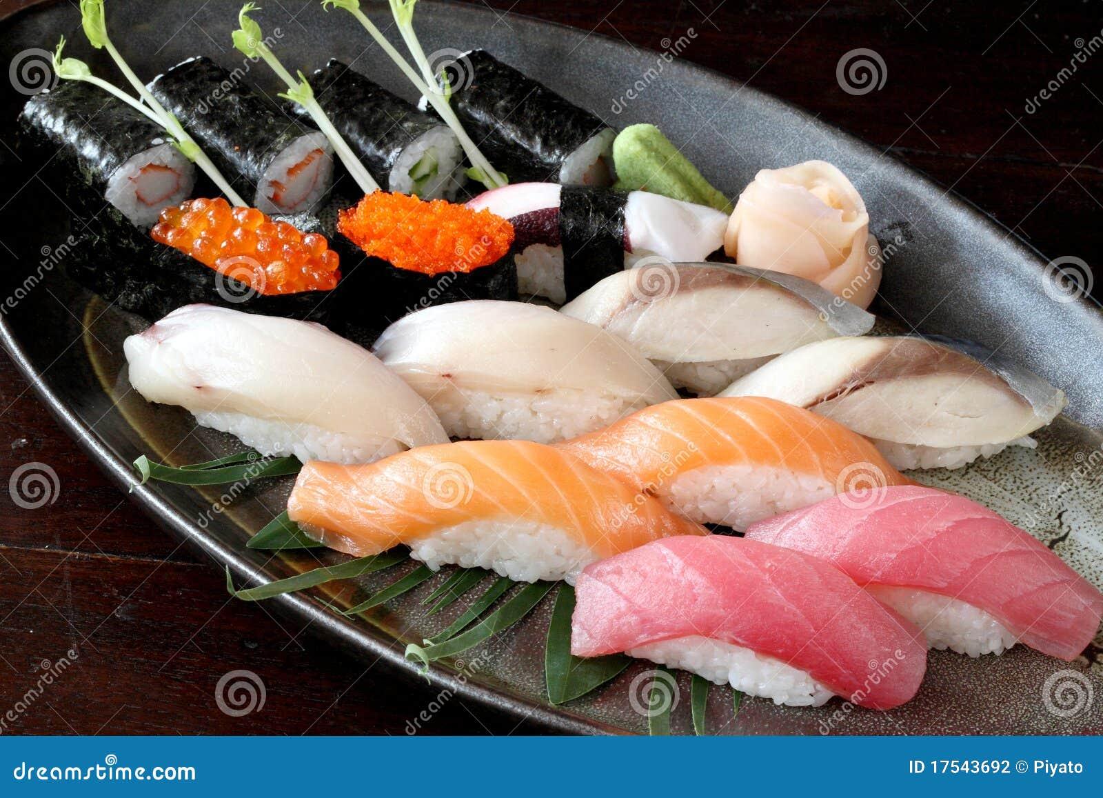 Japanese food raw salmon tuna saba sushi stock photography for Is sushi raw fish