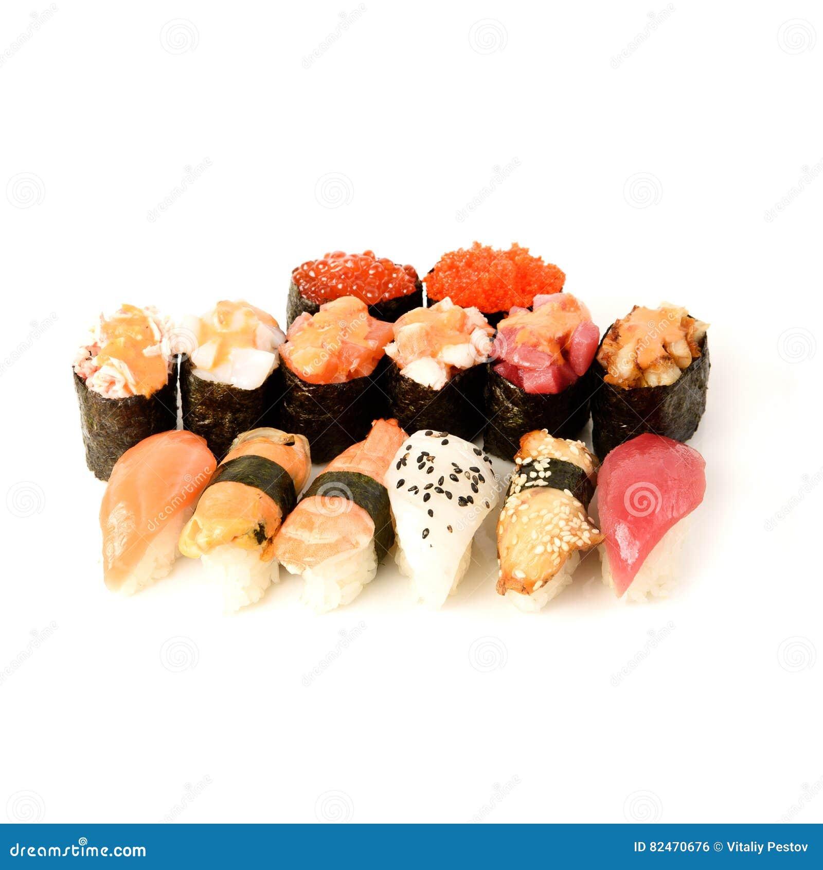Japanese food restaurant delivery - sushi maki california gunkan roll platter big set isolated at white background
