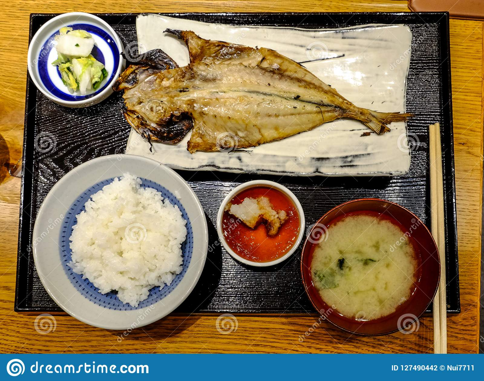 Japanese Food Set Grilled Fish With Rice Stock Photo Image Of Open Marine 127490442