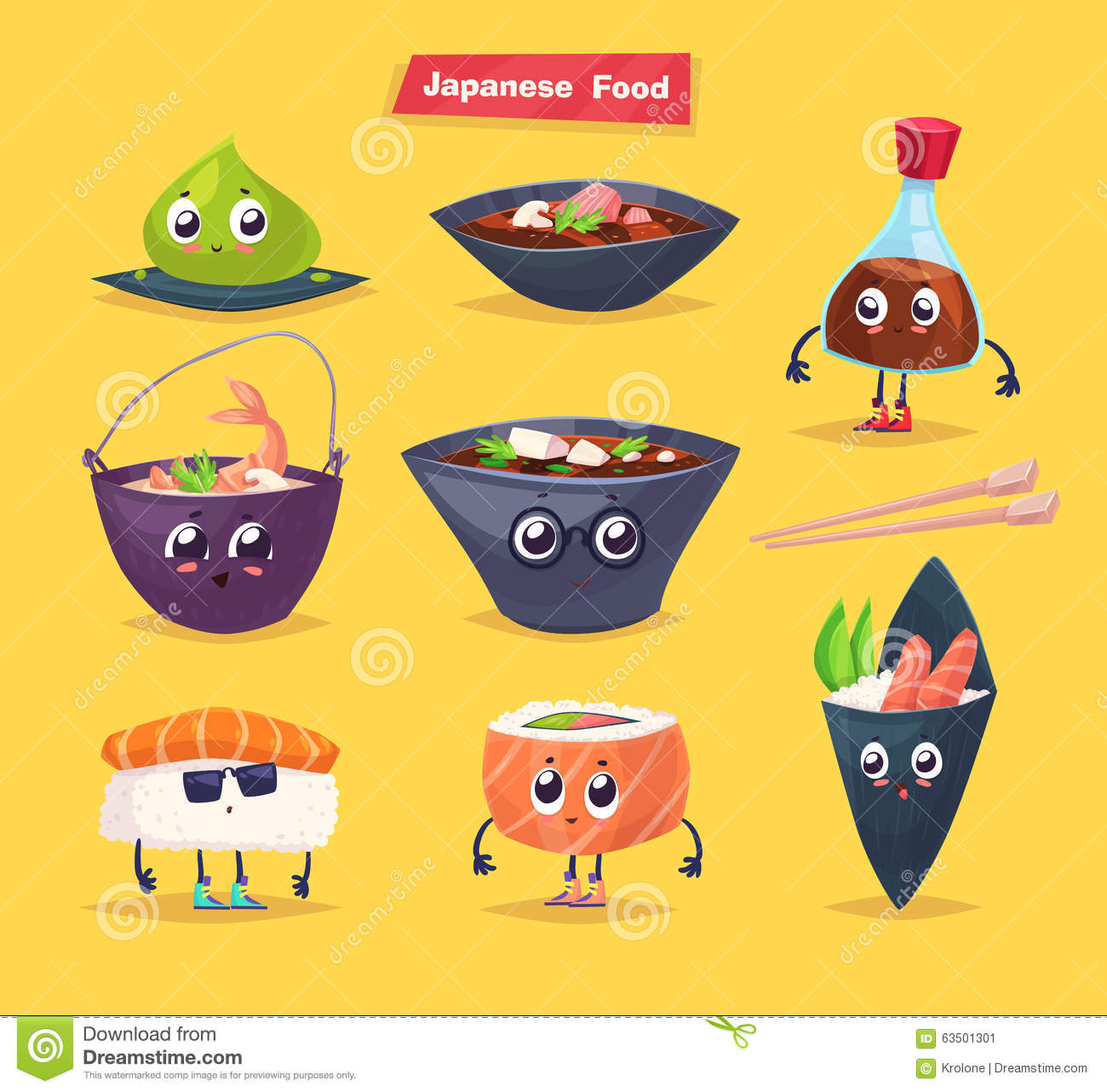 Japanese food. Soy sauce and sushi roll. Vector