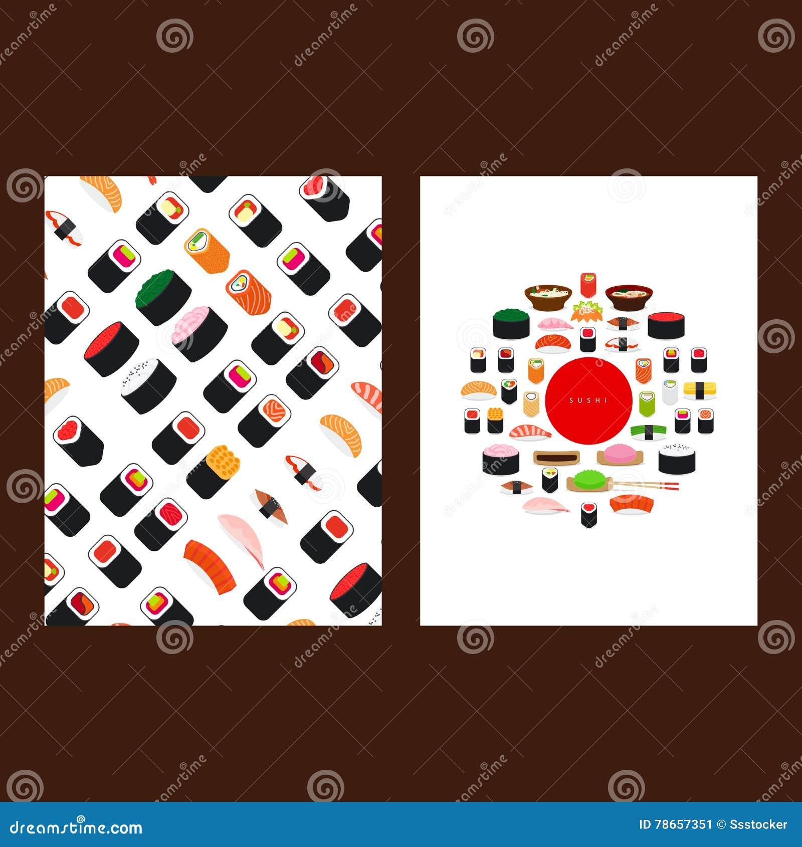 Japanese food sushi menu cover
