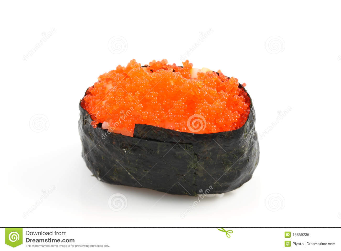Japanese food sushi rice with salmon eggs stock image for Fish eggs on sushi