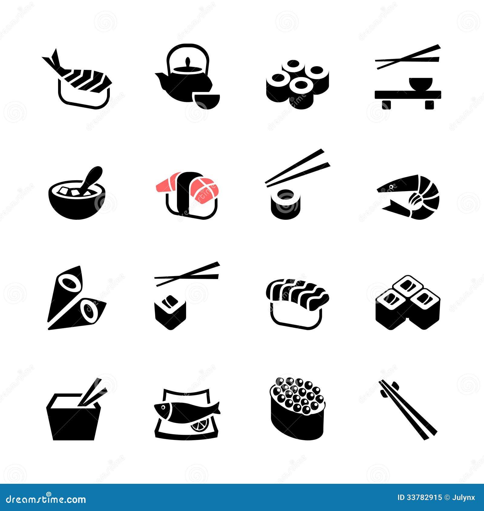 Japanese food Sushi web icon set